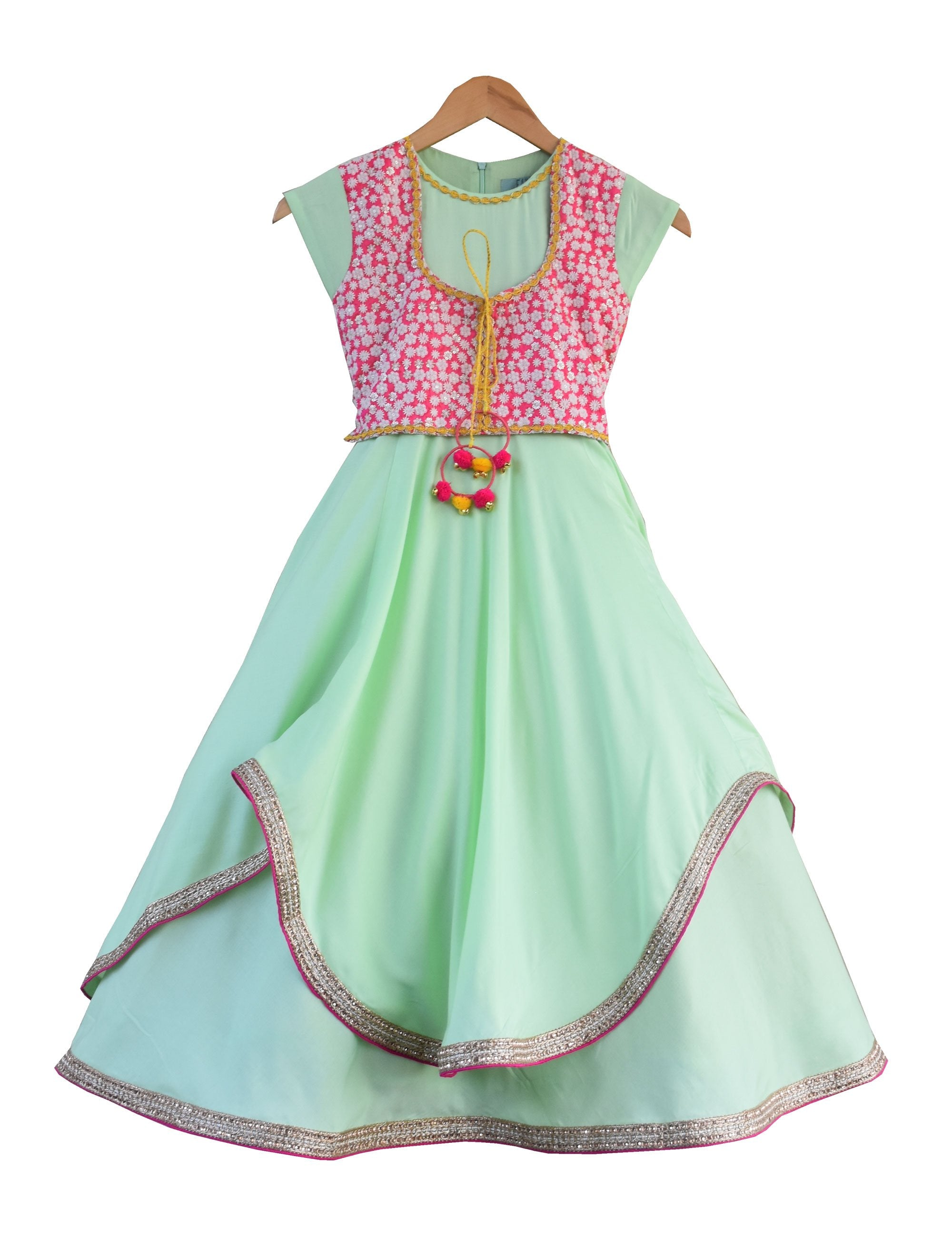 Anarkali Dress with Attached Embroidery Jacket in Green & Pink Colour for Girls