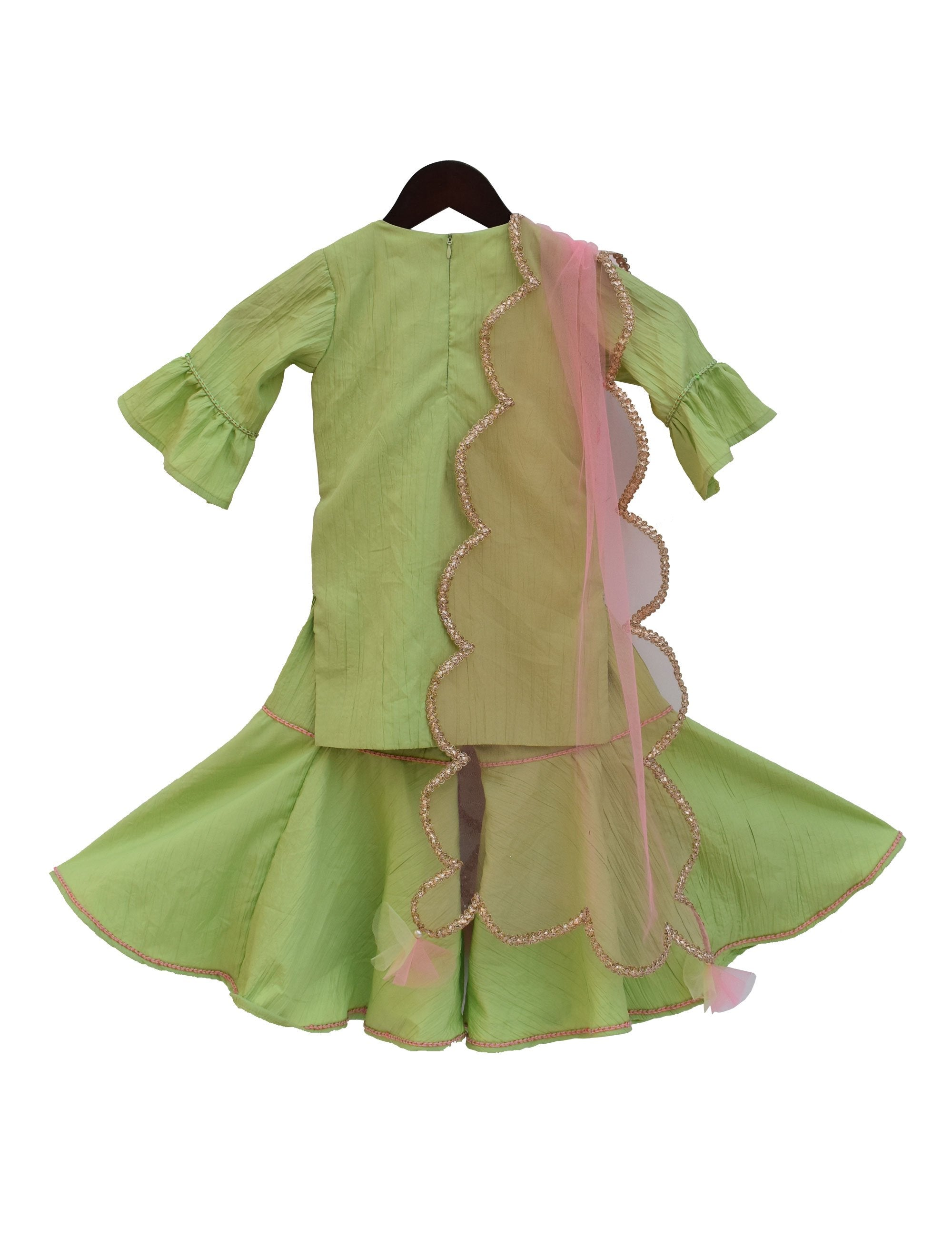 Crape Kurti with Sharara in Green Colour