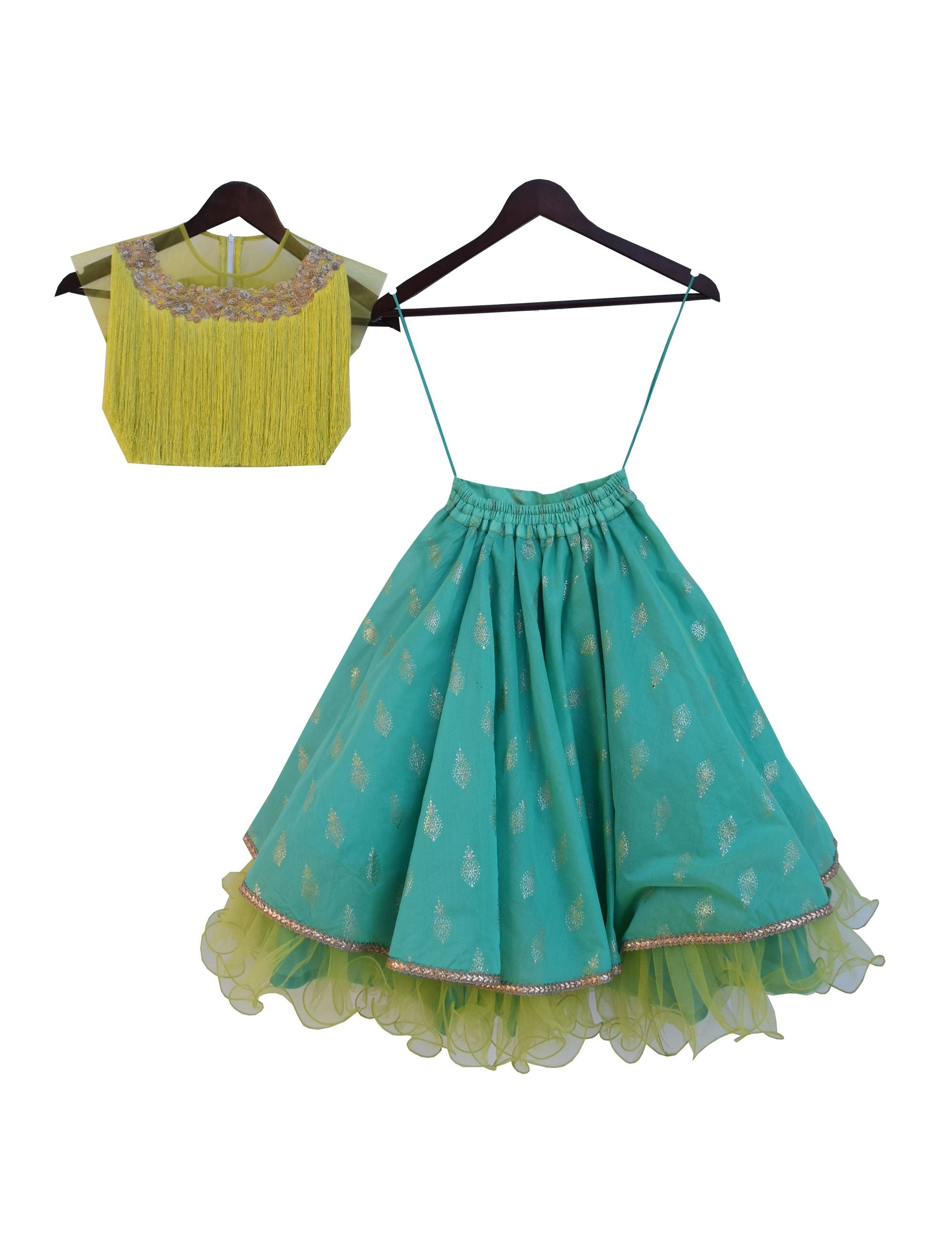 Tassel Lehenga in Green Colour for Girls