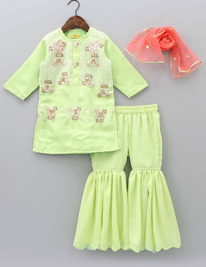 059ac3bbcf Buy Green Embroidered Sharara Set for Girls at best Price - Mini Firgun