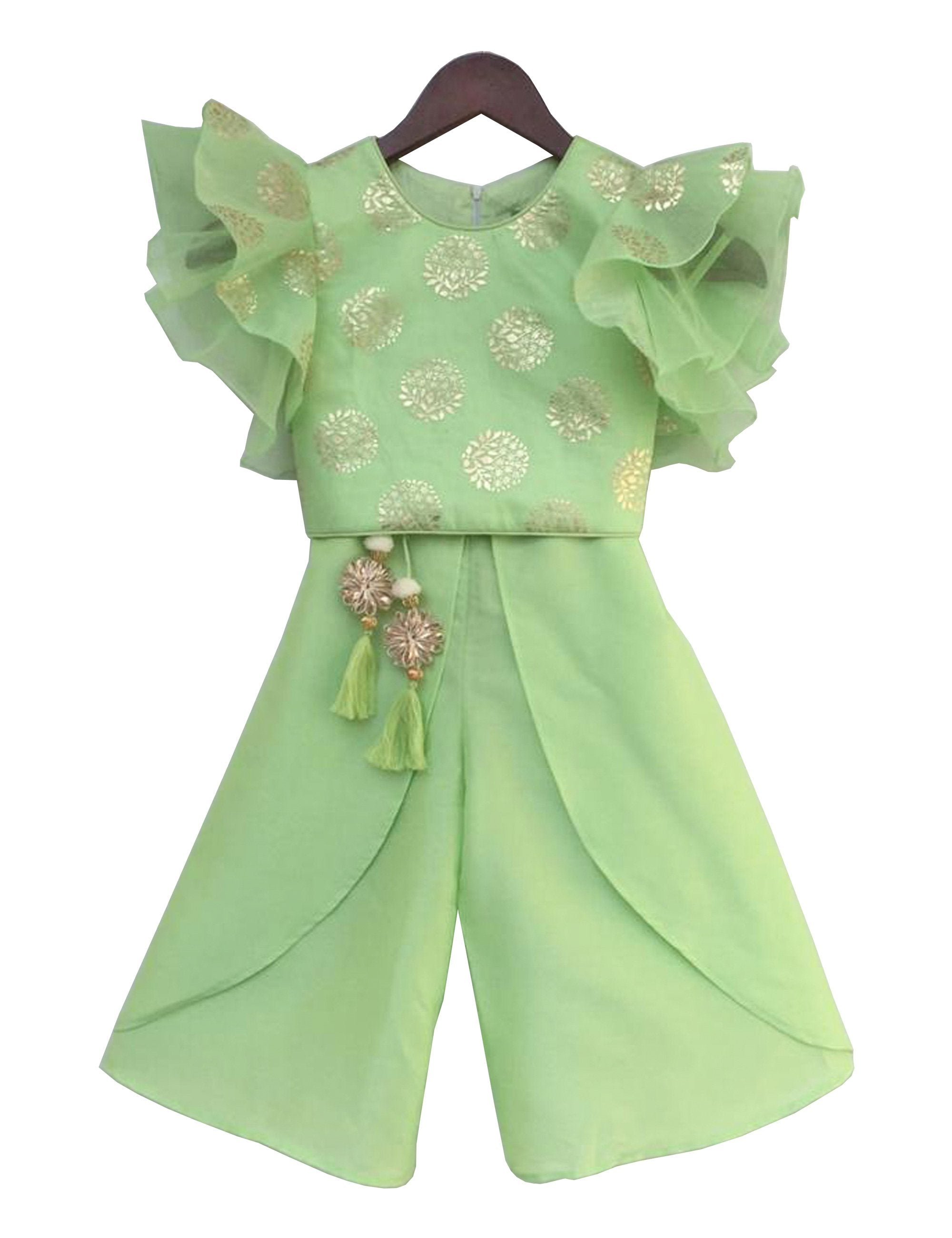 Green Foil Print Top with Plazo