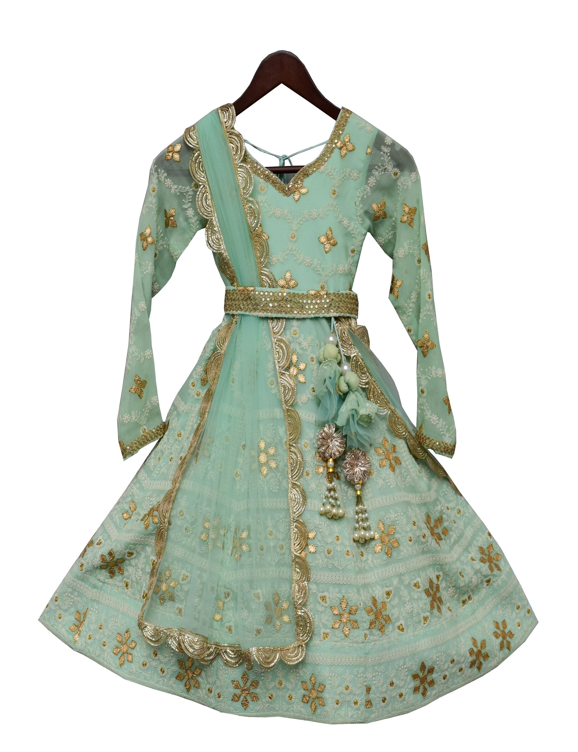 Green Lucknowi Anarkali Dress