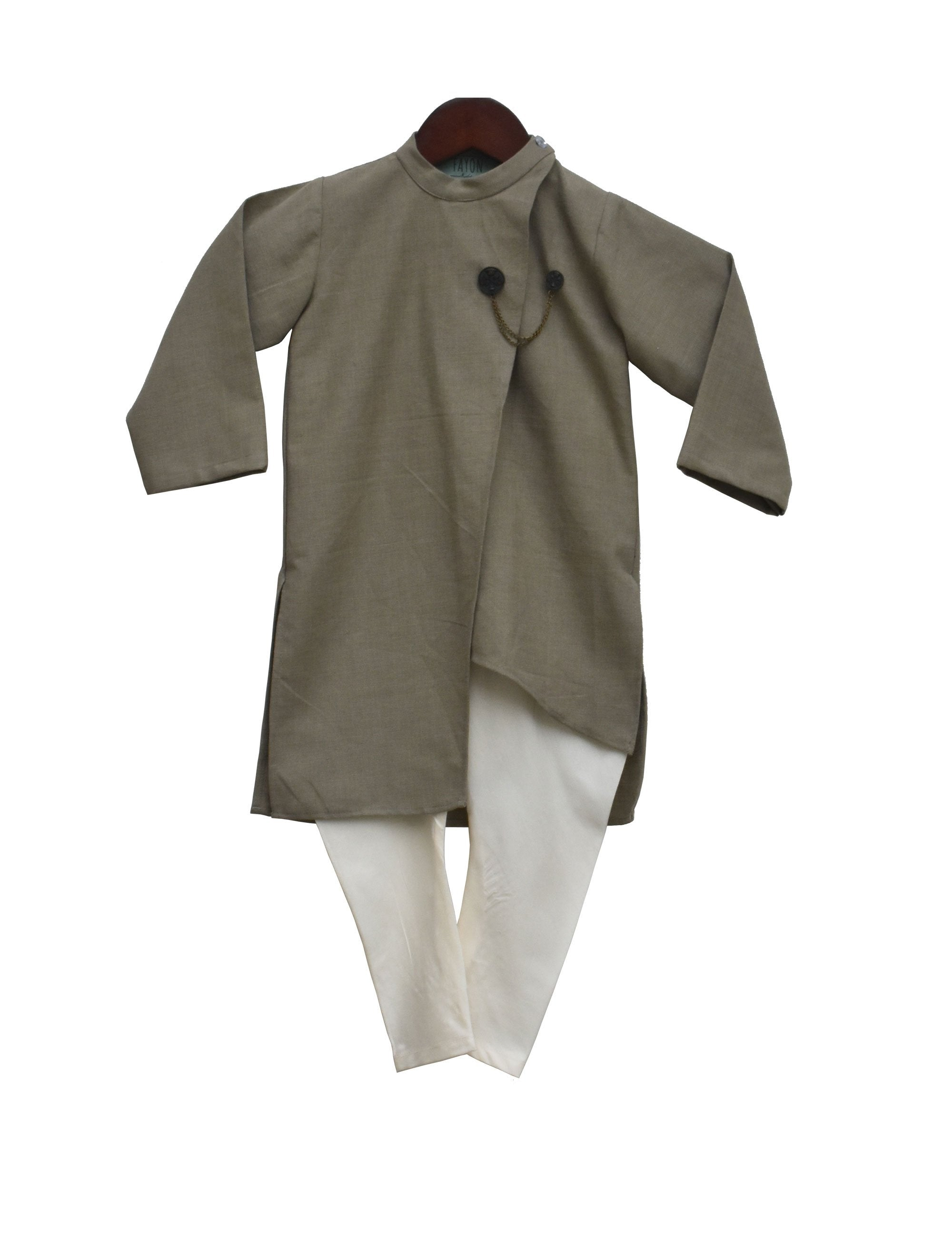 Linen Asymmetric Kurta with Churidaar in Grey and White Colour for Boys