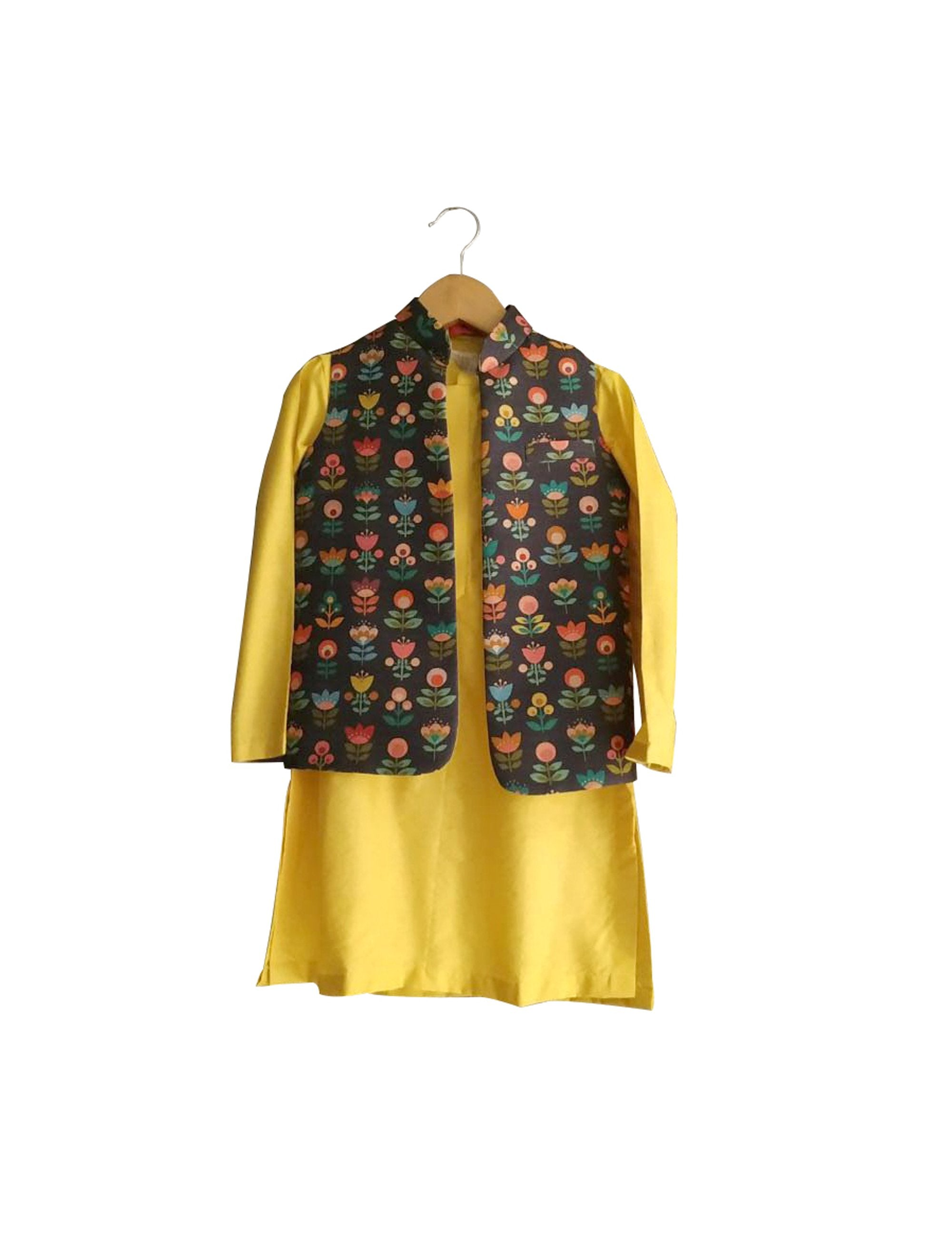 Yellow Kurta and Grey Floral Nehru Jacket