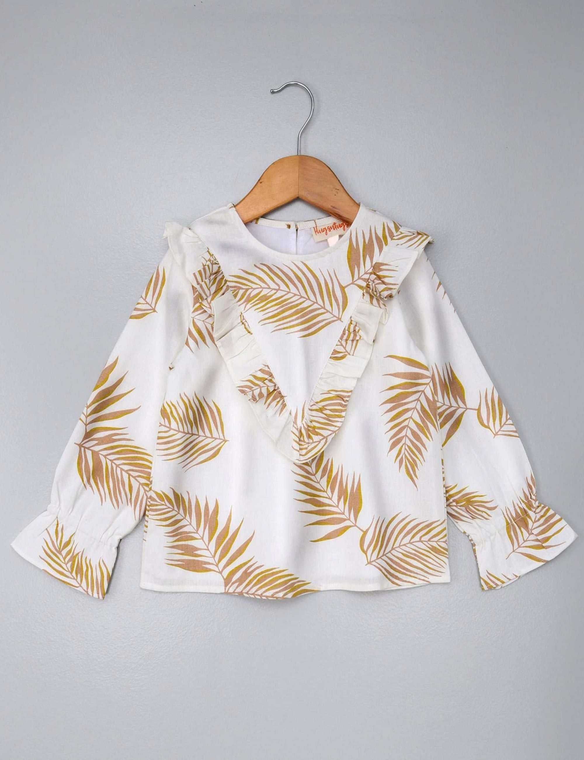 Full Sleeves Leaf Print Top with Frills