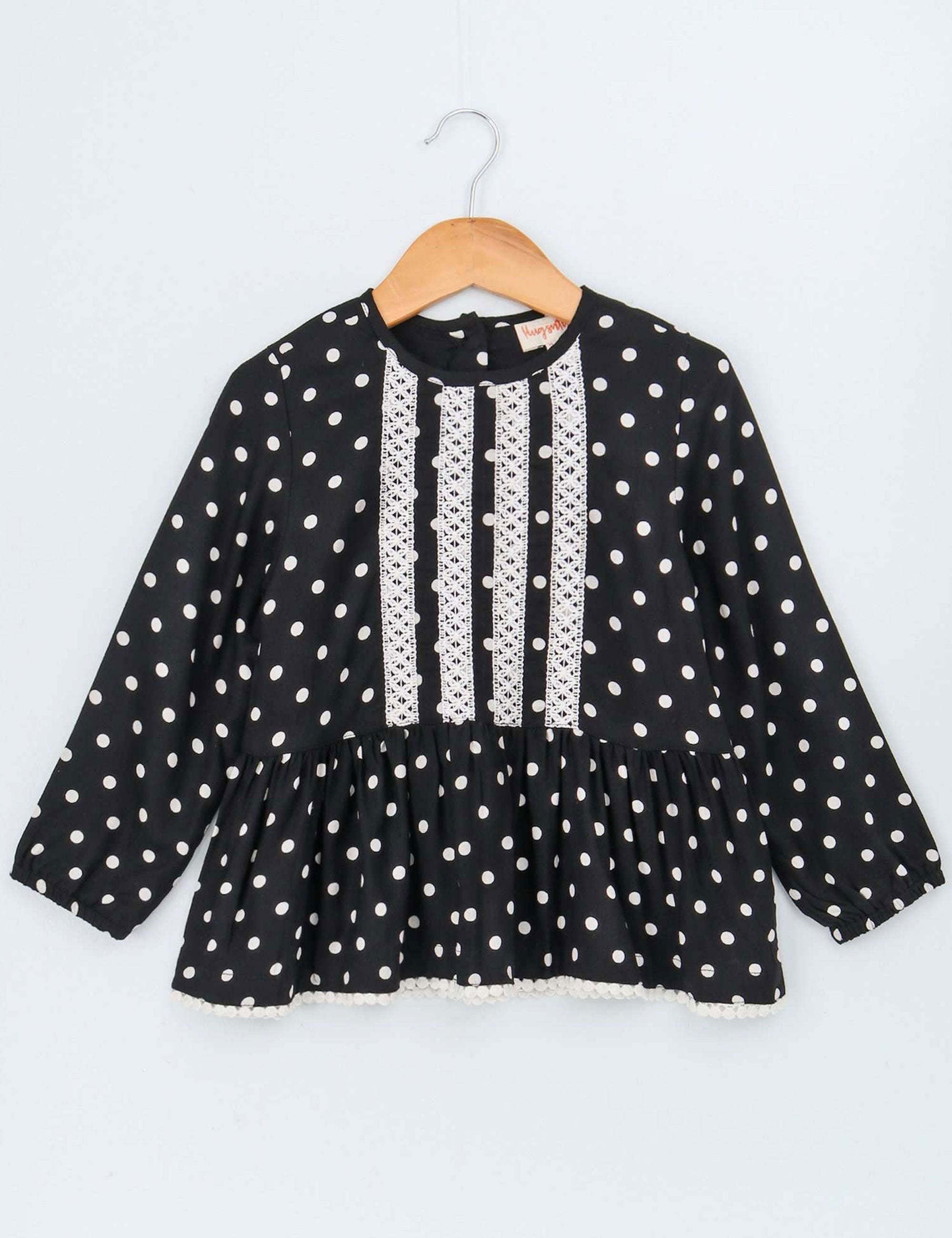 Polka Dot Print Full Sleeves Top for Girls