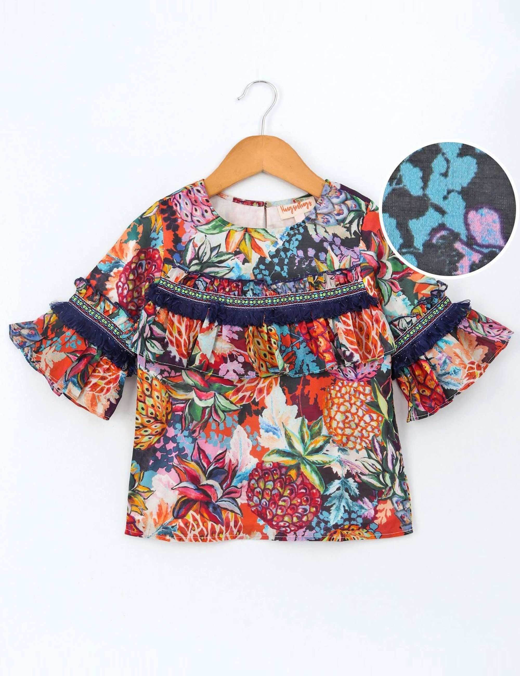 39eb4a3459 Buy Pineapple Print Half Sleeves Top for Girls at best Price - Mini ...