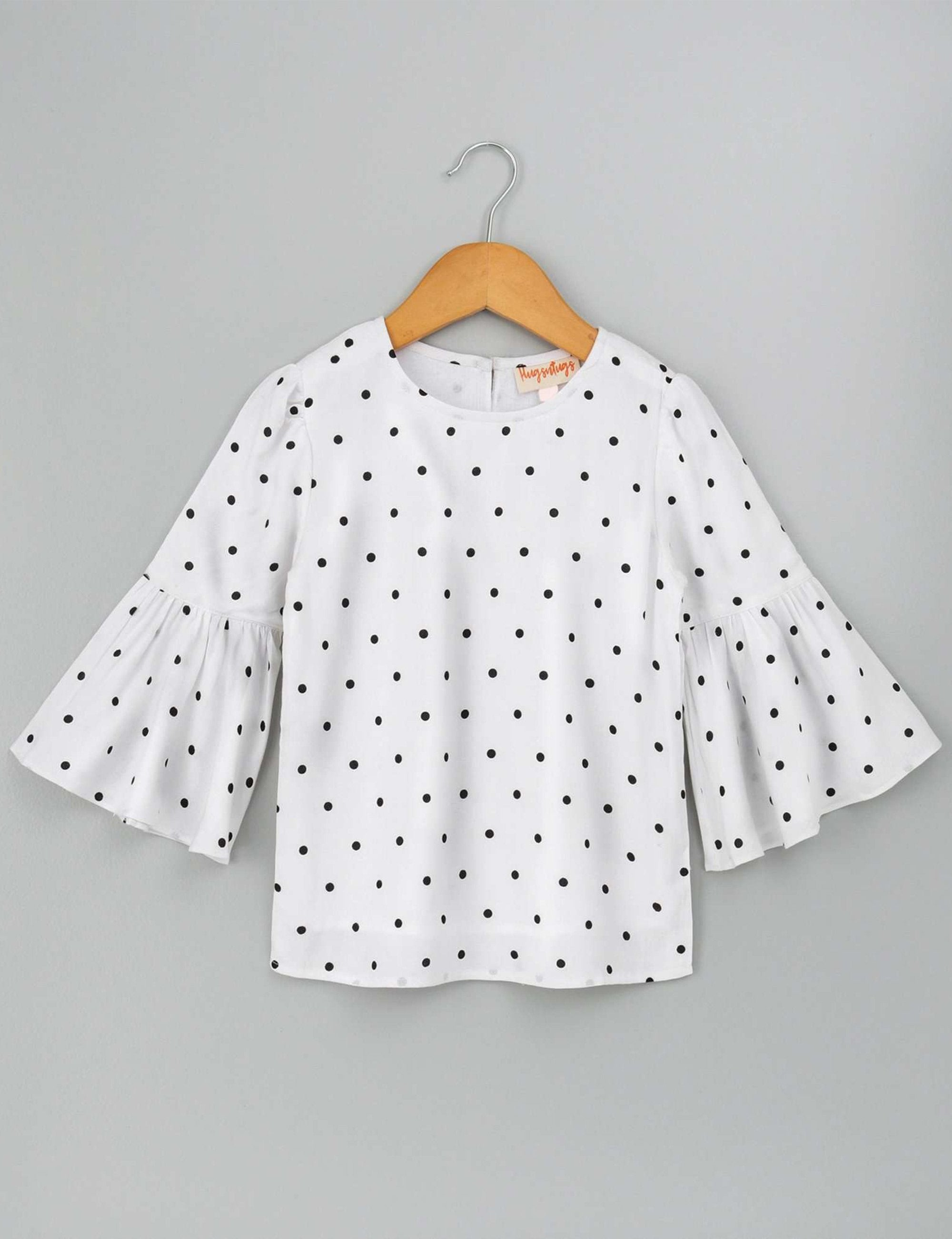 Bell Sleeves Polka Dotted Top for Girls