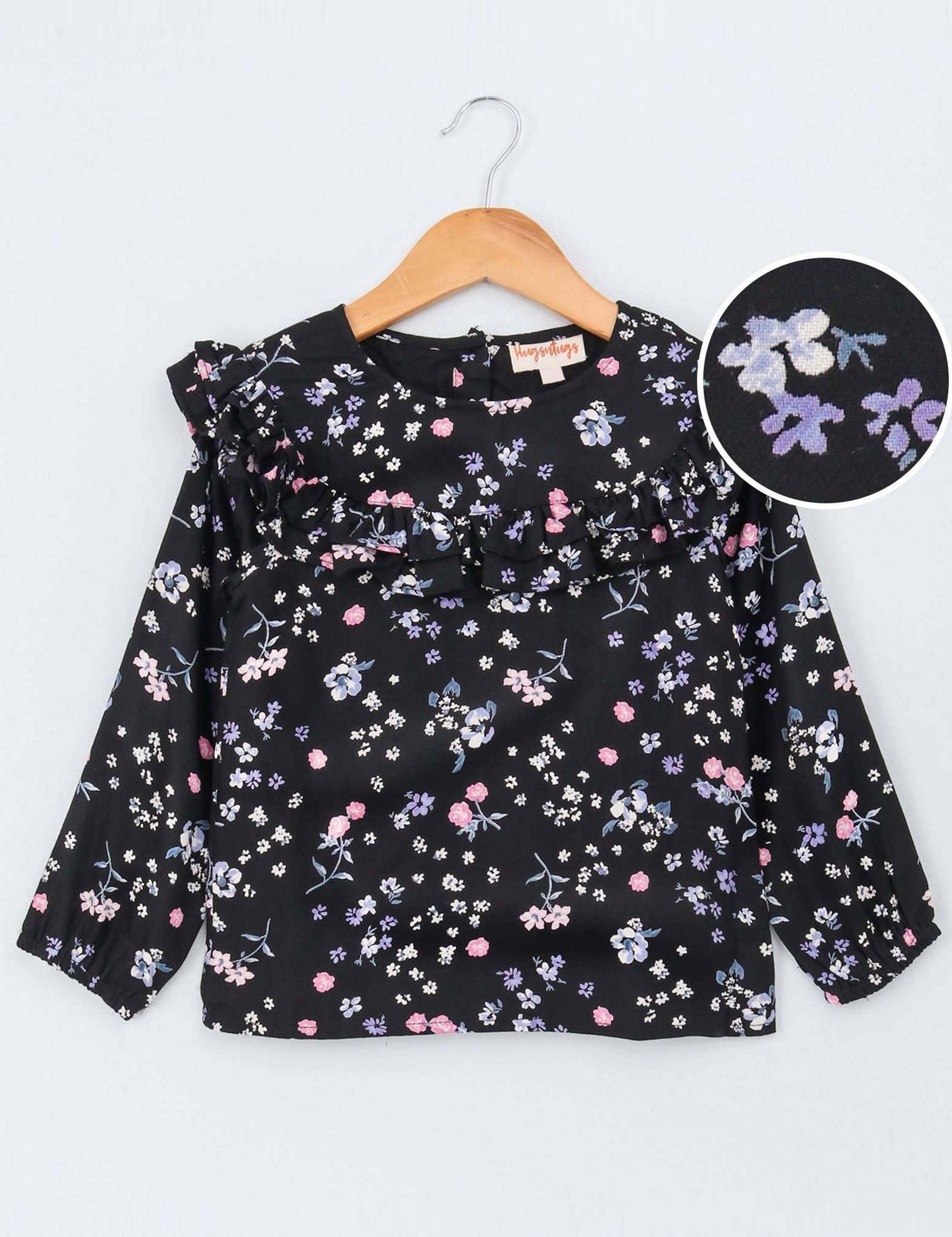 Full Sleeves Frontal Frilled Floral Print Top for Girls