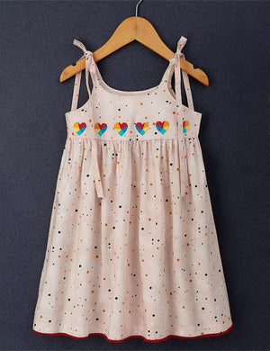 Heart Embroidery Knee Length Singlet Dress in Light Peach for Girls