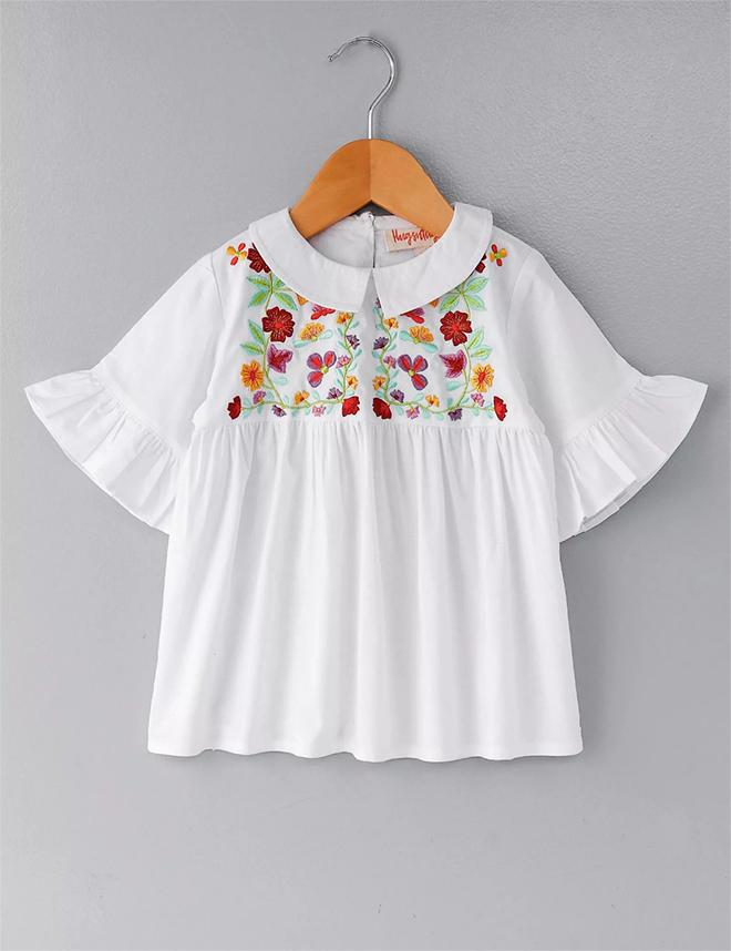 Floral Embroidery Collar Top -White