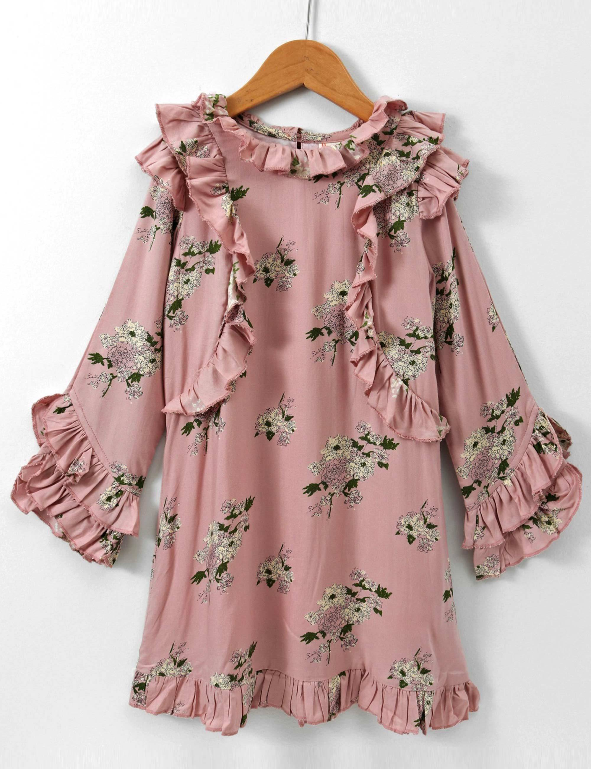 Full Sleeves Dress with Ruffles Floras