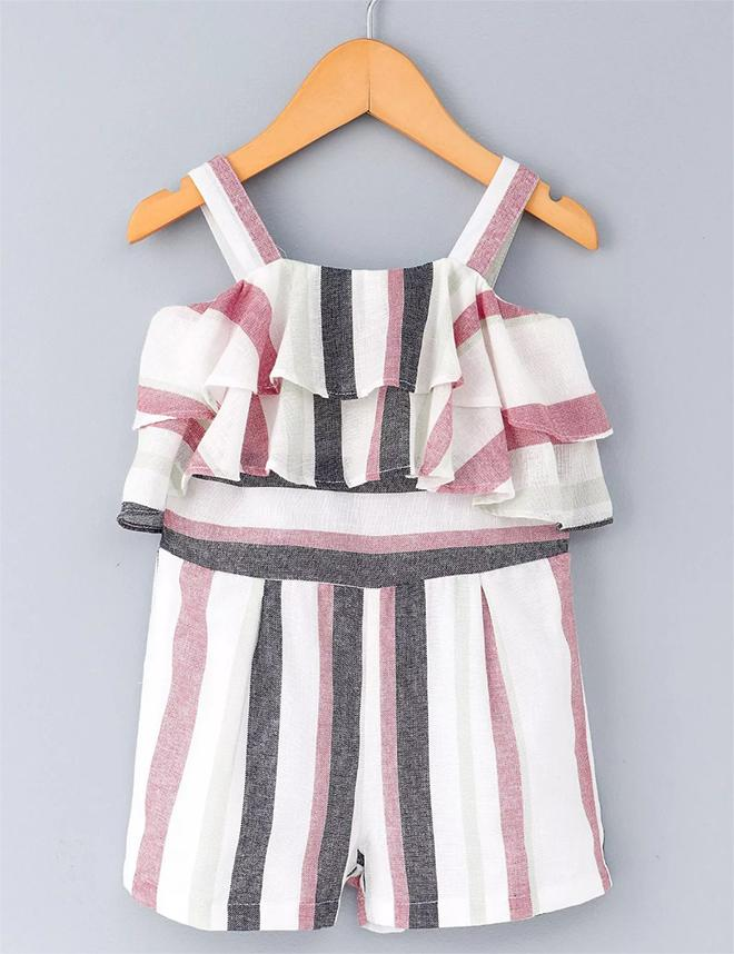 574dab2b3d Buy Striped Jumpsuit in White for Girls at best Price - Mini Firgun