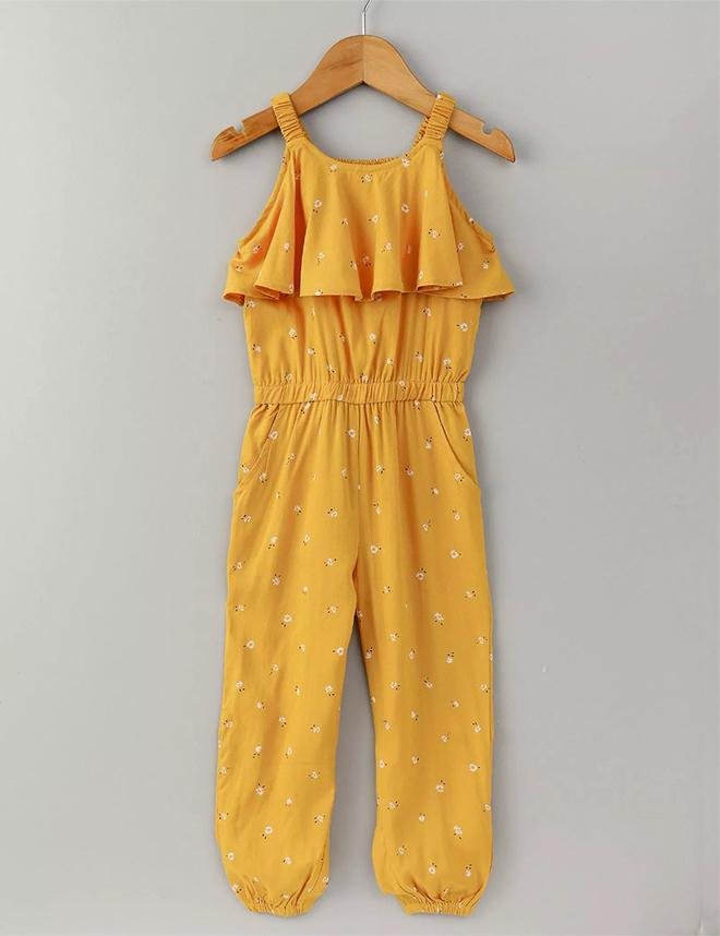 Floral Full Length Jumpsuit in Mustard Color for Girls
