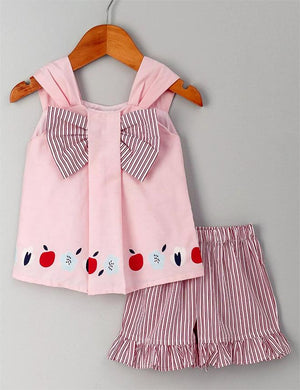 Sleeveless Top with Striped Shorts in Pink for Girls