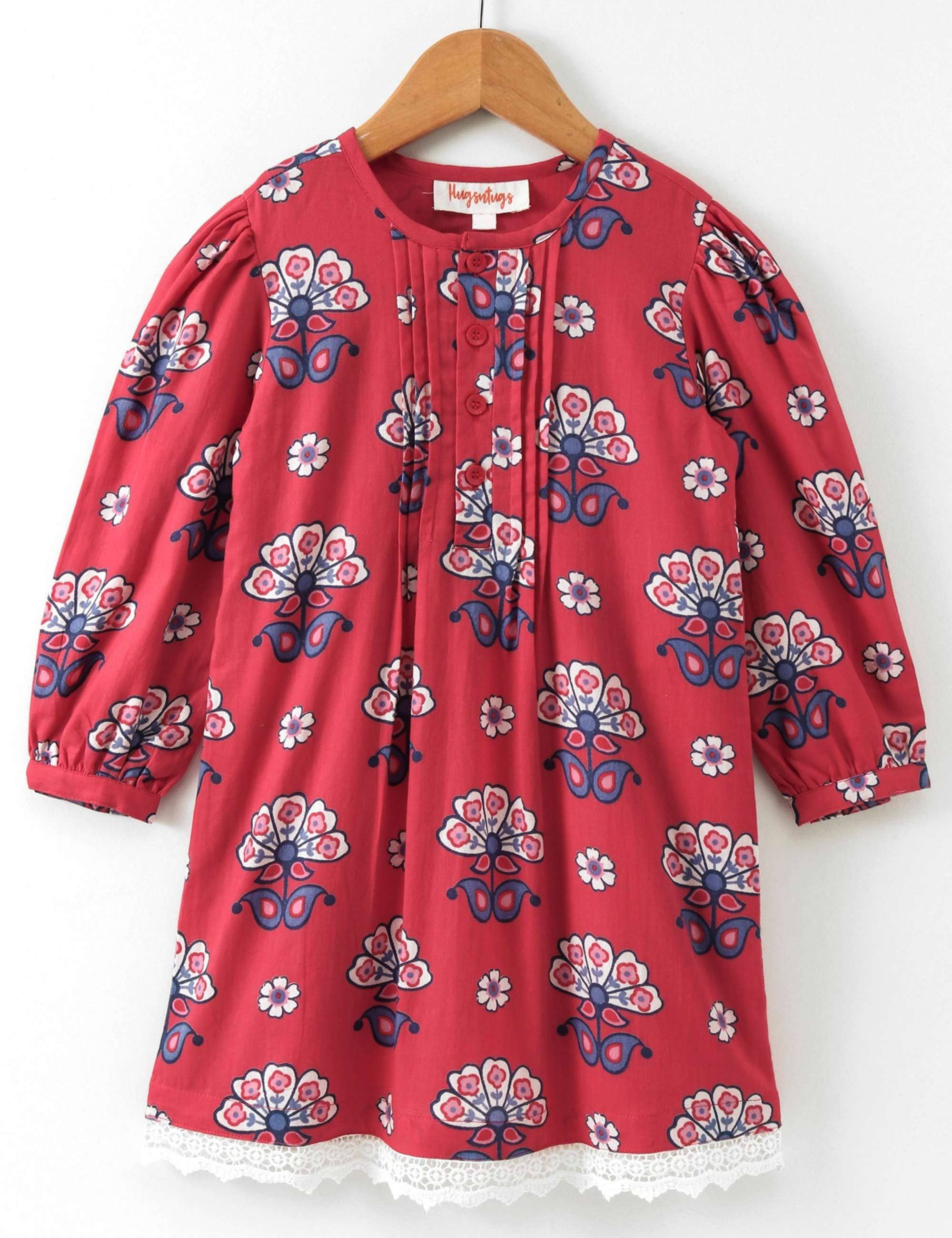 Full Sleeves Floral Print Frock