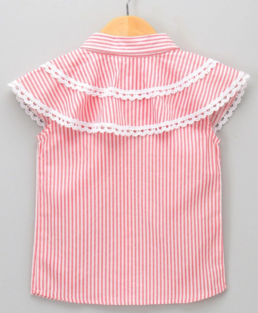 Stripe Shirt with Shoulder Flaps-Pink