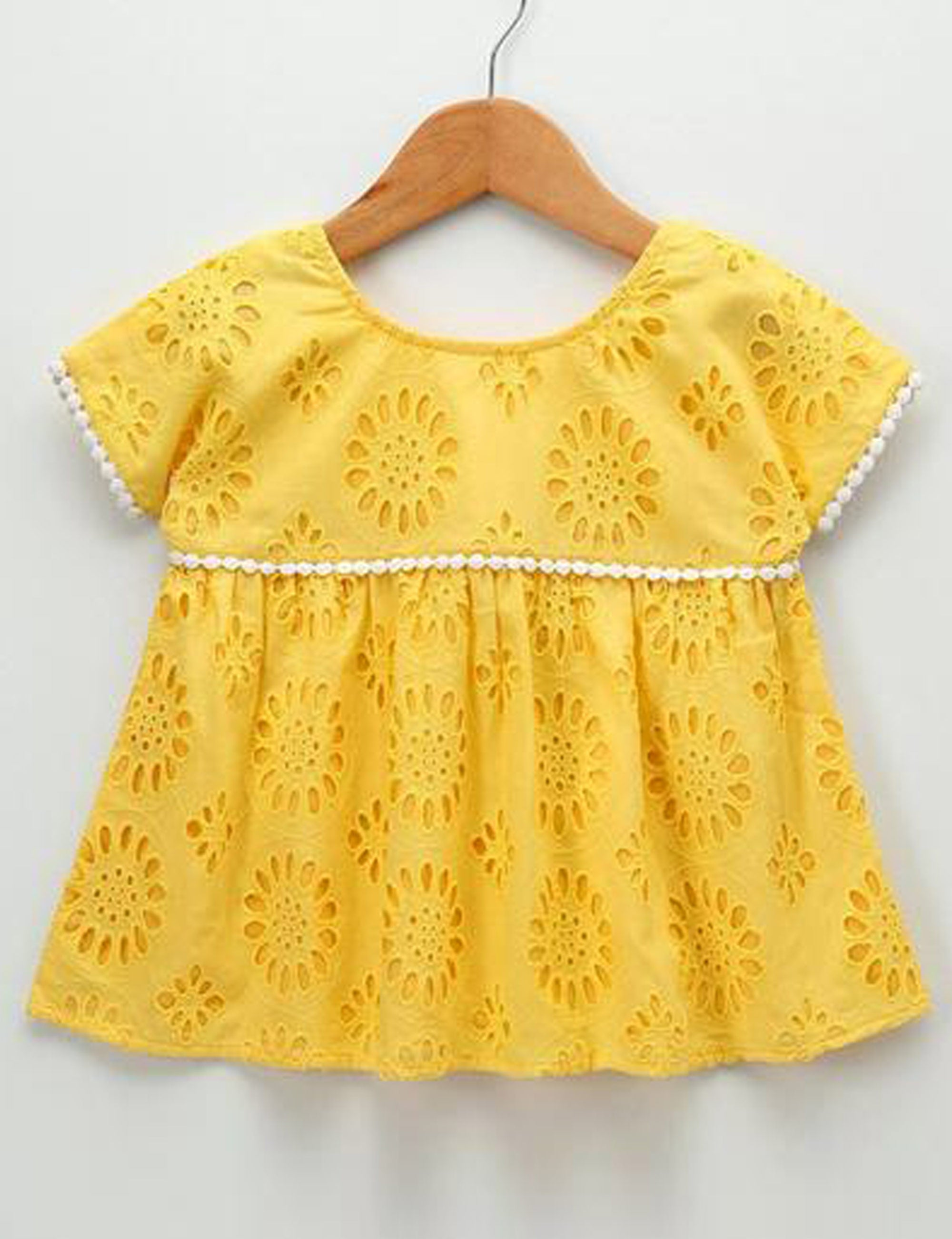 Schiffli Top with Pom Pom Lace in Yellow Colour for Girls