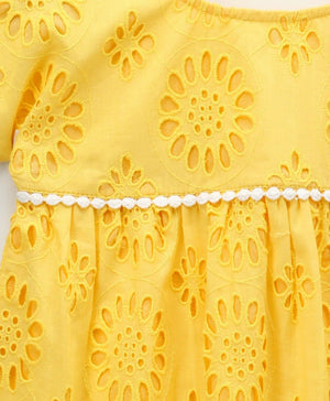 4acc202bd61 Buy Schiffli Top with Pom Pom Lace in Yellow Colour for Girls at ...