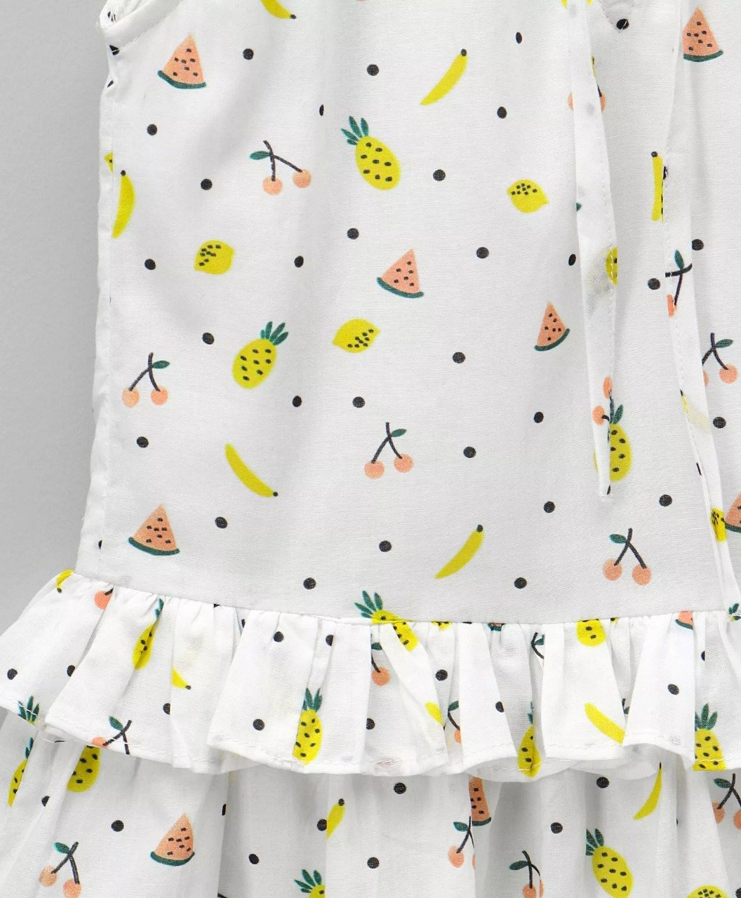 Fruit Print Peplum Top-White