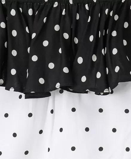 Polka Dot Top and Short Set in Black and White Colour