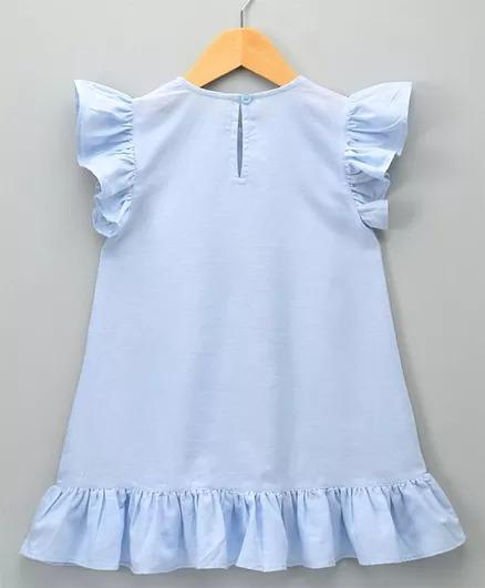 Chambray Dress with Fringe Lace- Blue