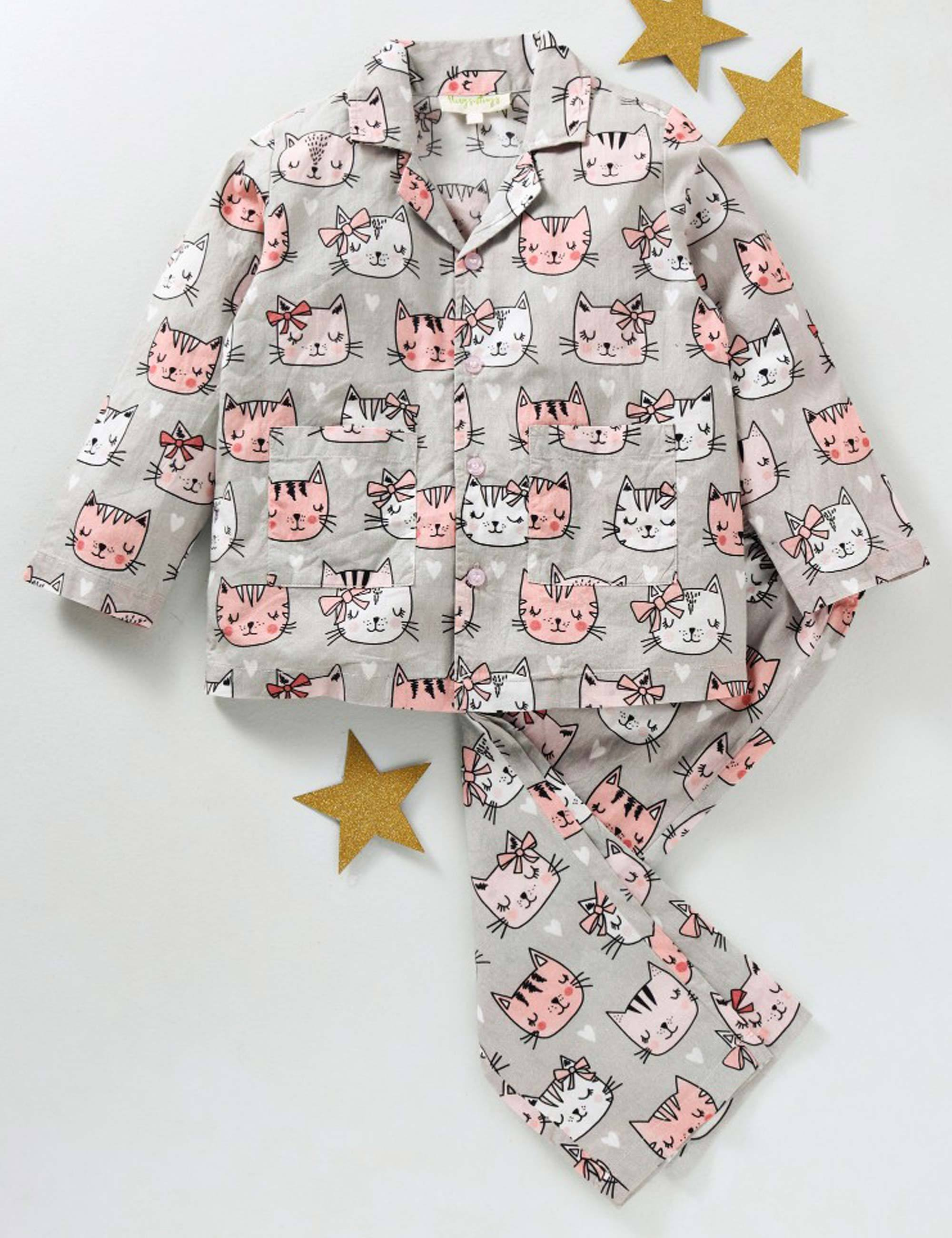Cat Face Print Nightsuit