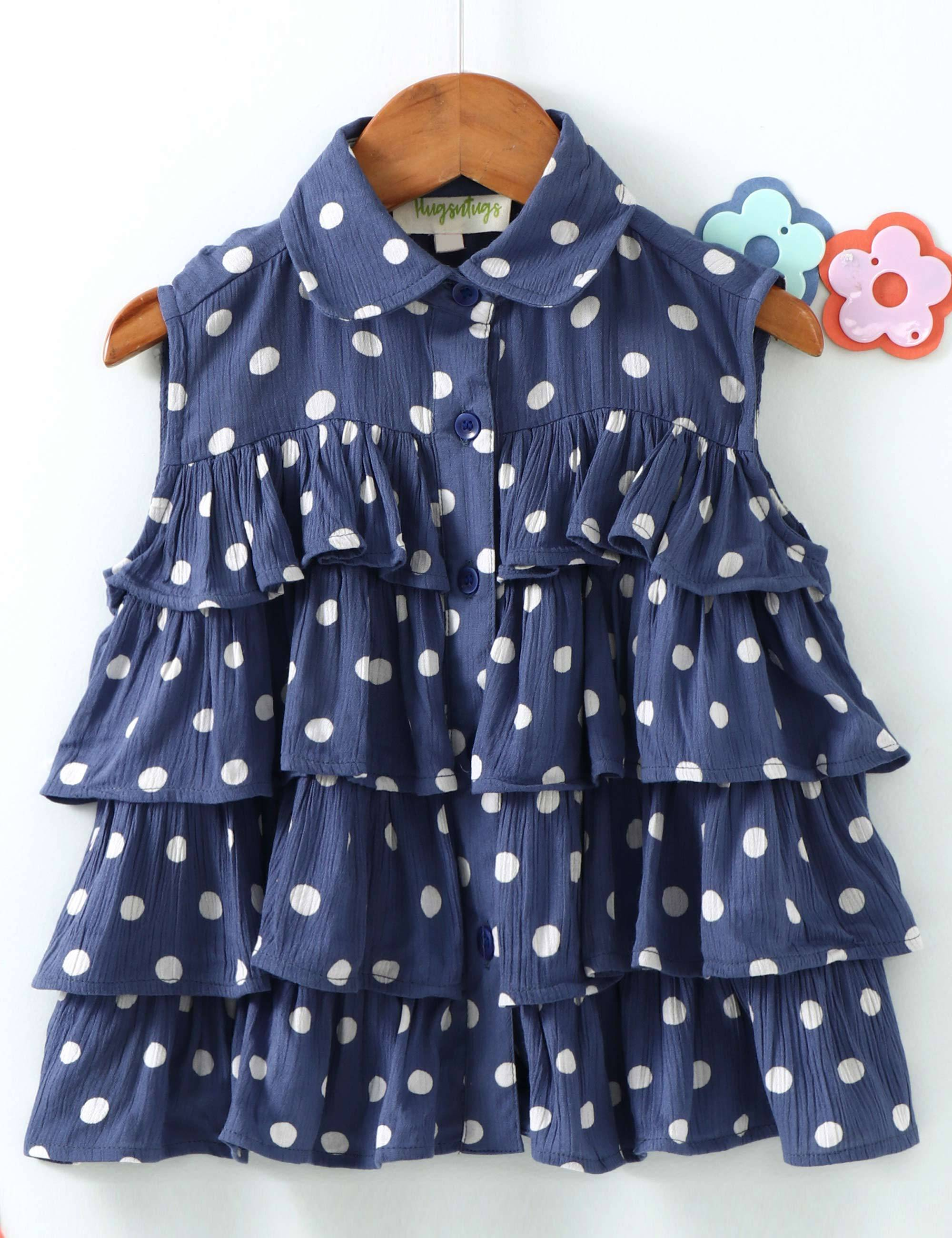 Polka Dots Print Sleeveless Top In Blue Colour.
