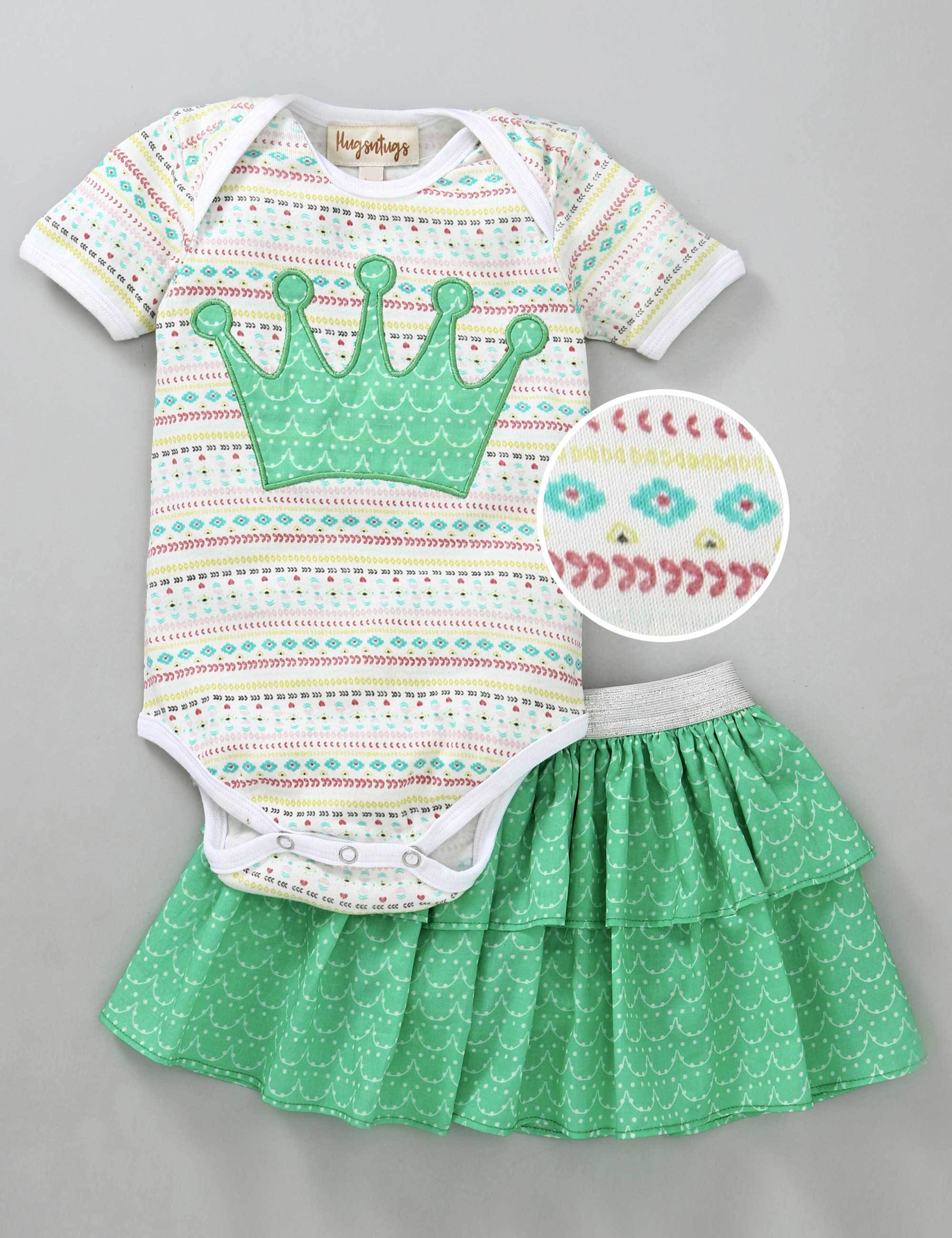 Crown Patch Half Sleeves Onesie with Skirt