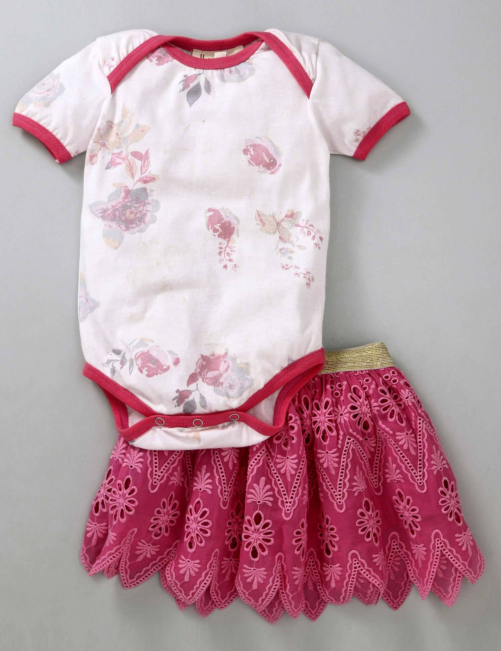 Half Sleeves Onesie and Stiffly Embroidered Skirt