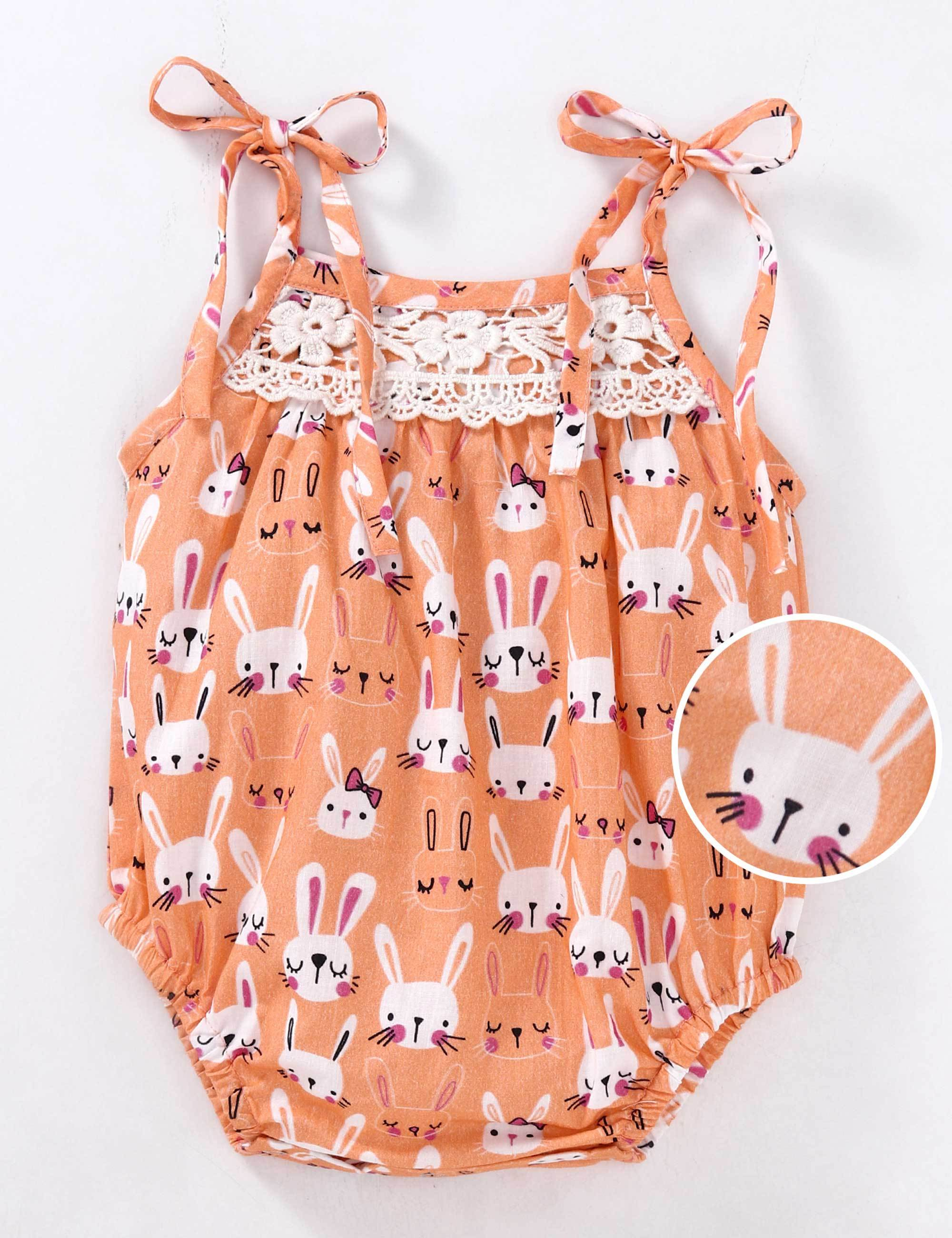 Sleeveless Bunny Printed Onesie-Orange