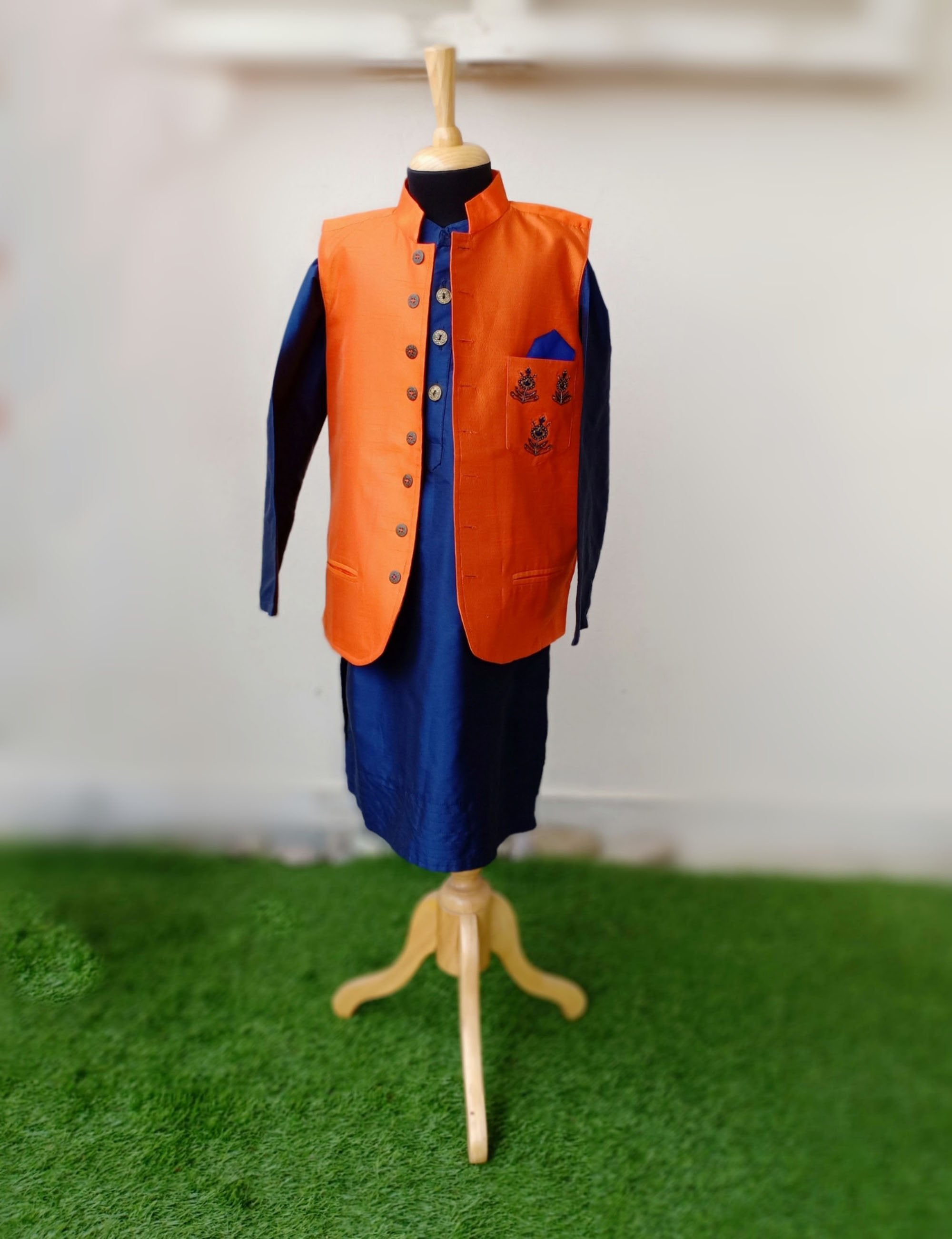 Orange Nehru Jacket with Navy Blue Kurta