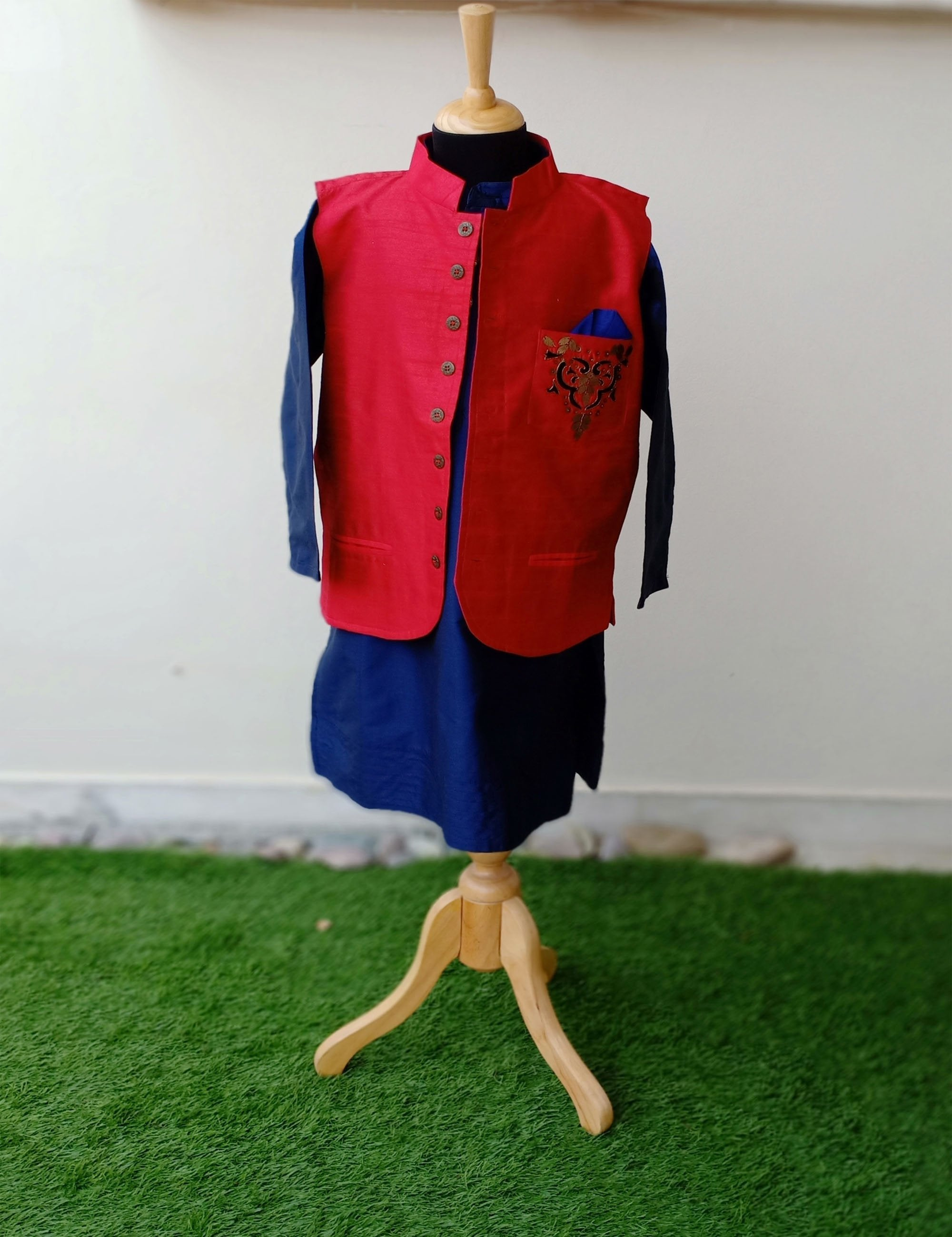 Red Nehru Jacket With Kurta