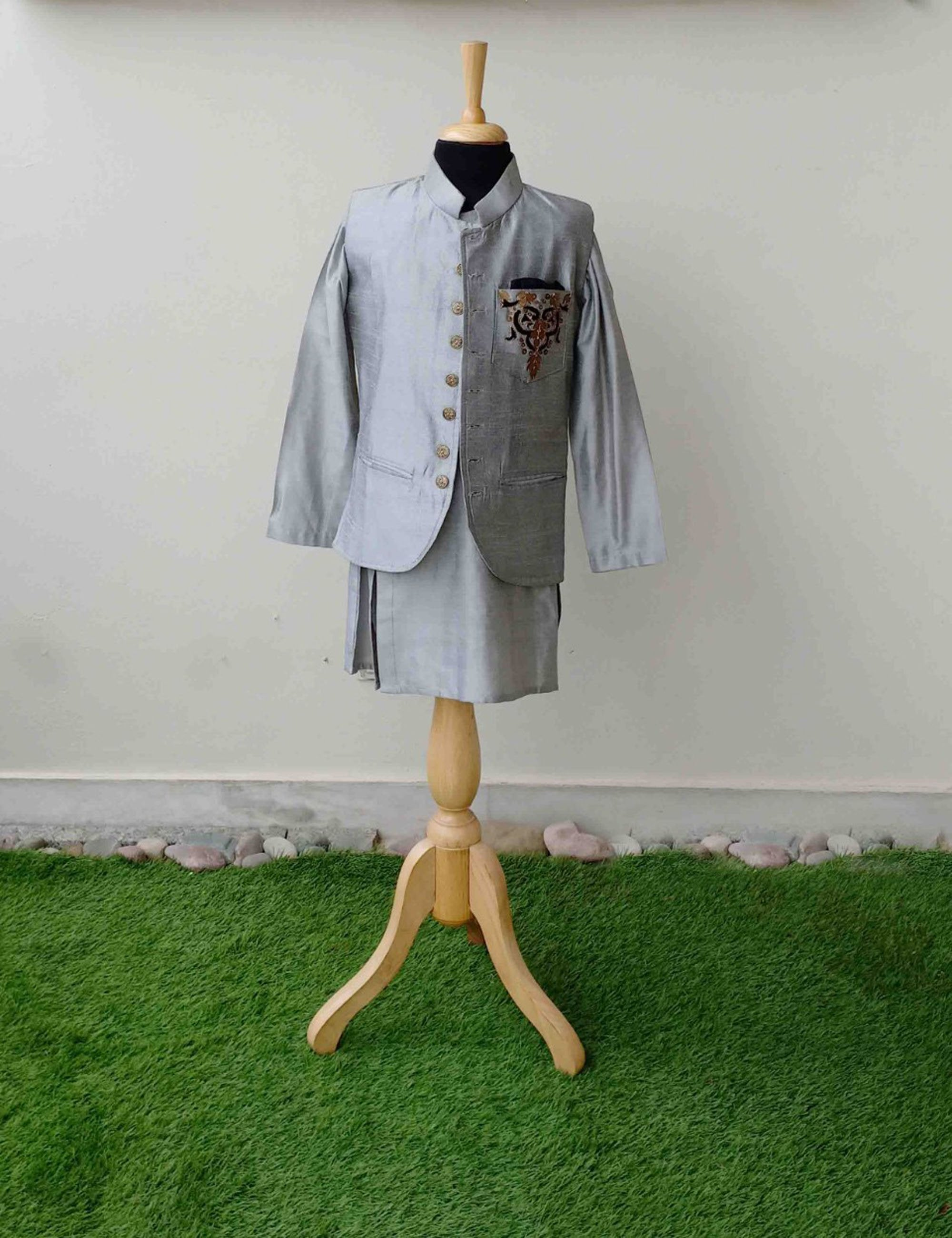 Grey Kurta with Nehru Jacket Set
