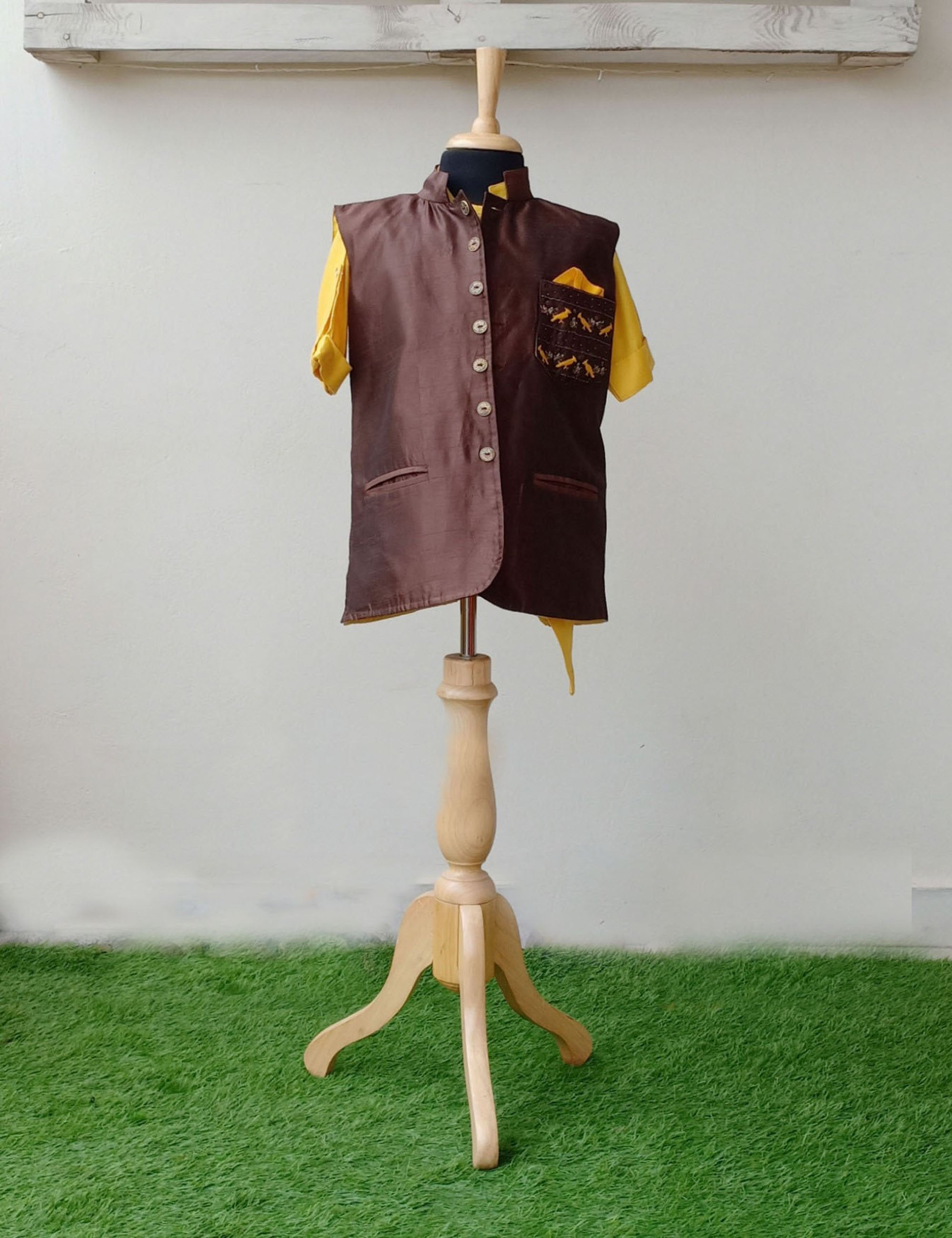 Brown Nehru Jacket with Yellow Kurta Set