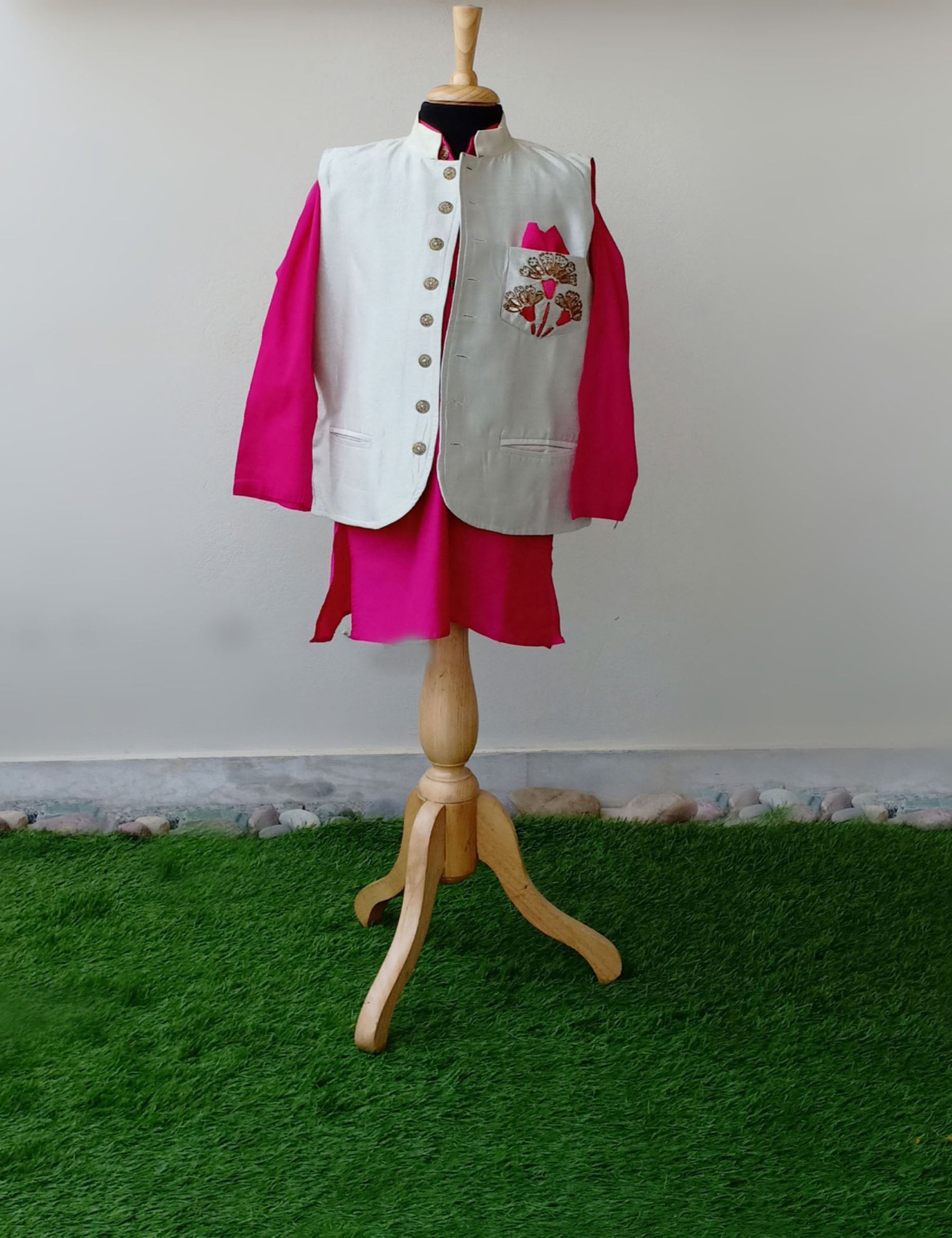 White Nehru Jacket with Pink Kurta Set