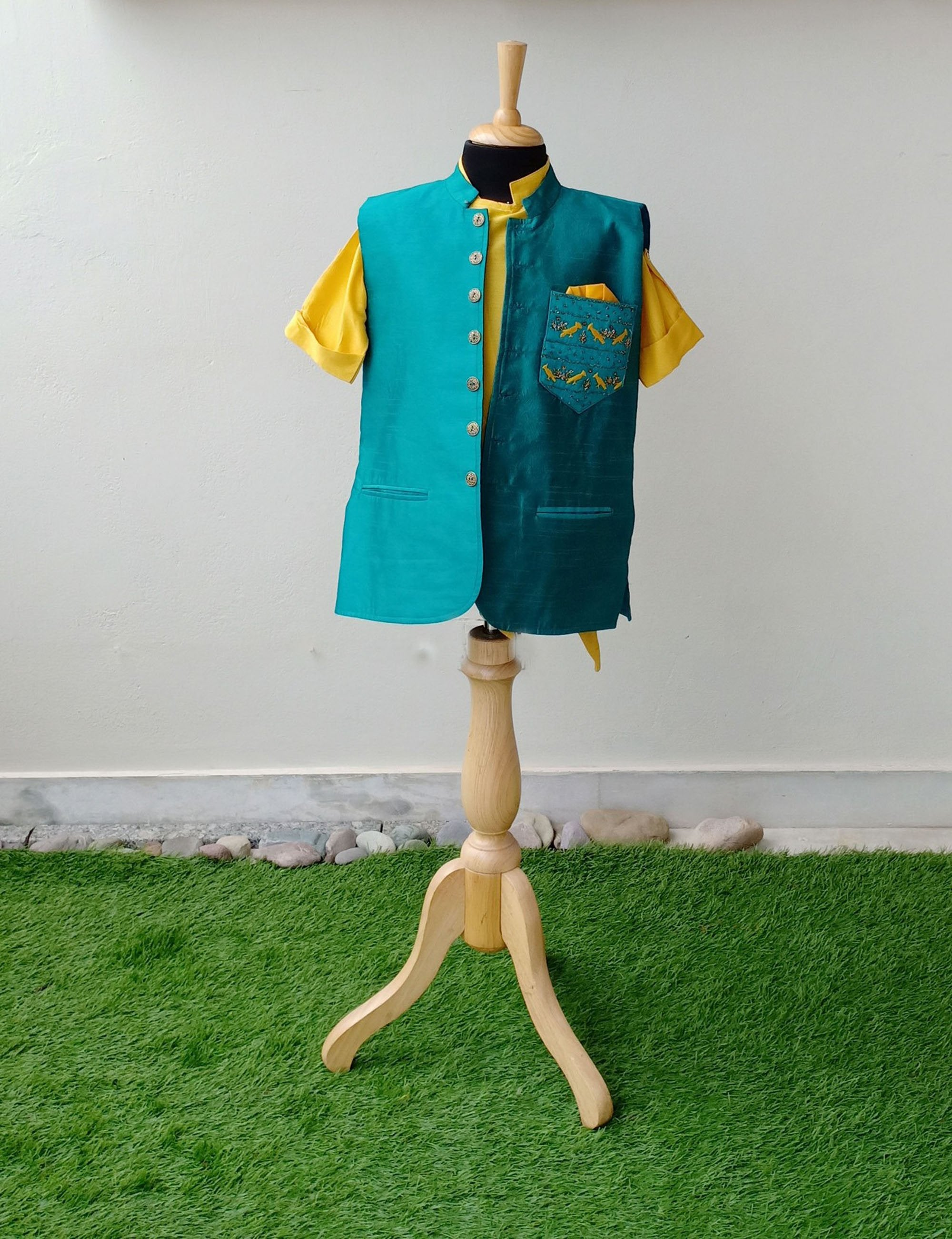 Green Nehru Jacket with Yellow Kurta Set
