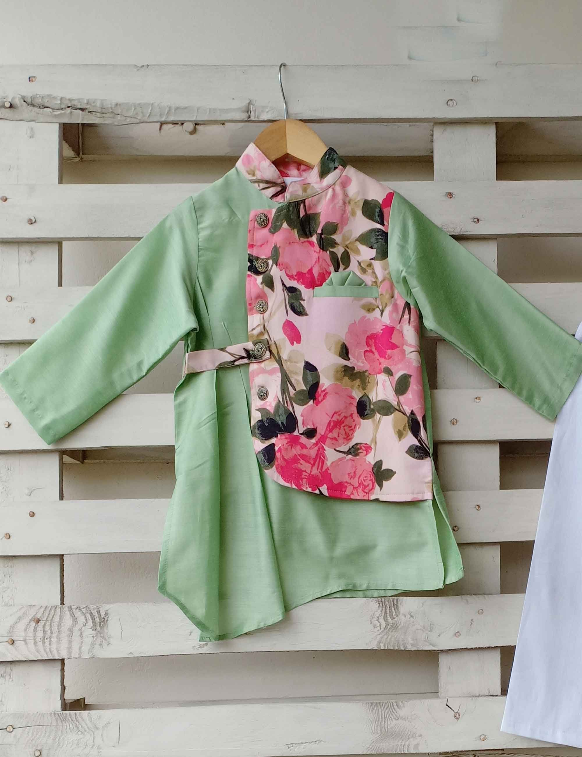 Light Green Kurta with Floral Printed Jacket