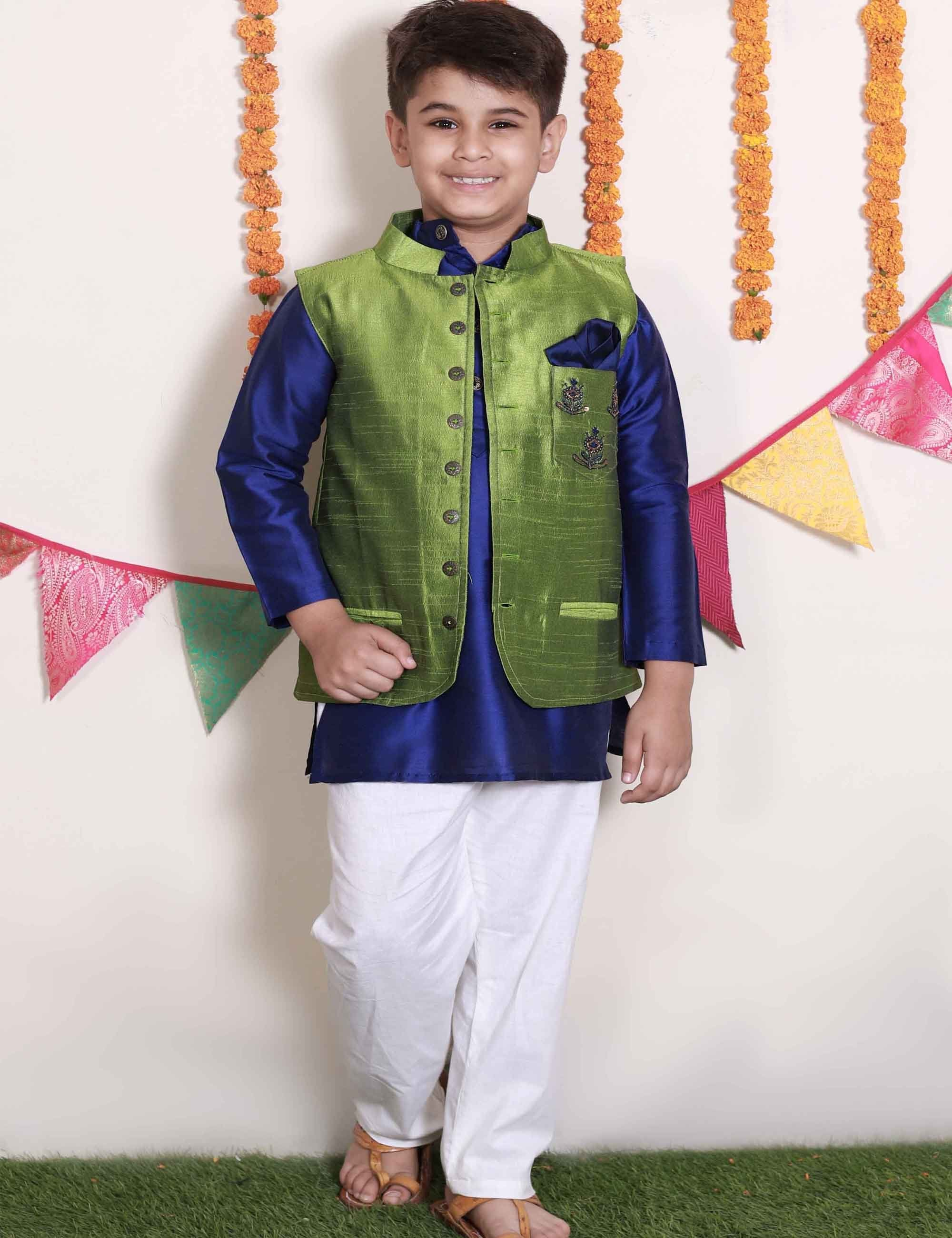 Green Nehru Jacket with Navy Blue Kurta