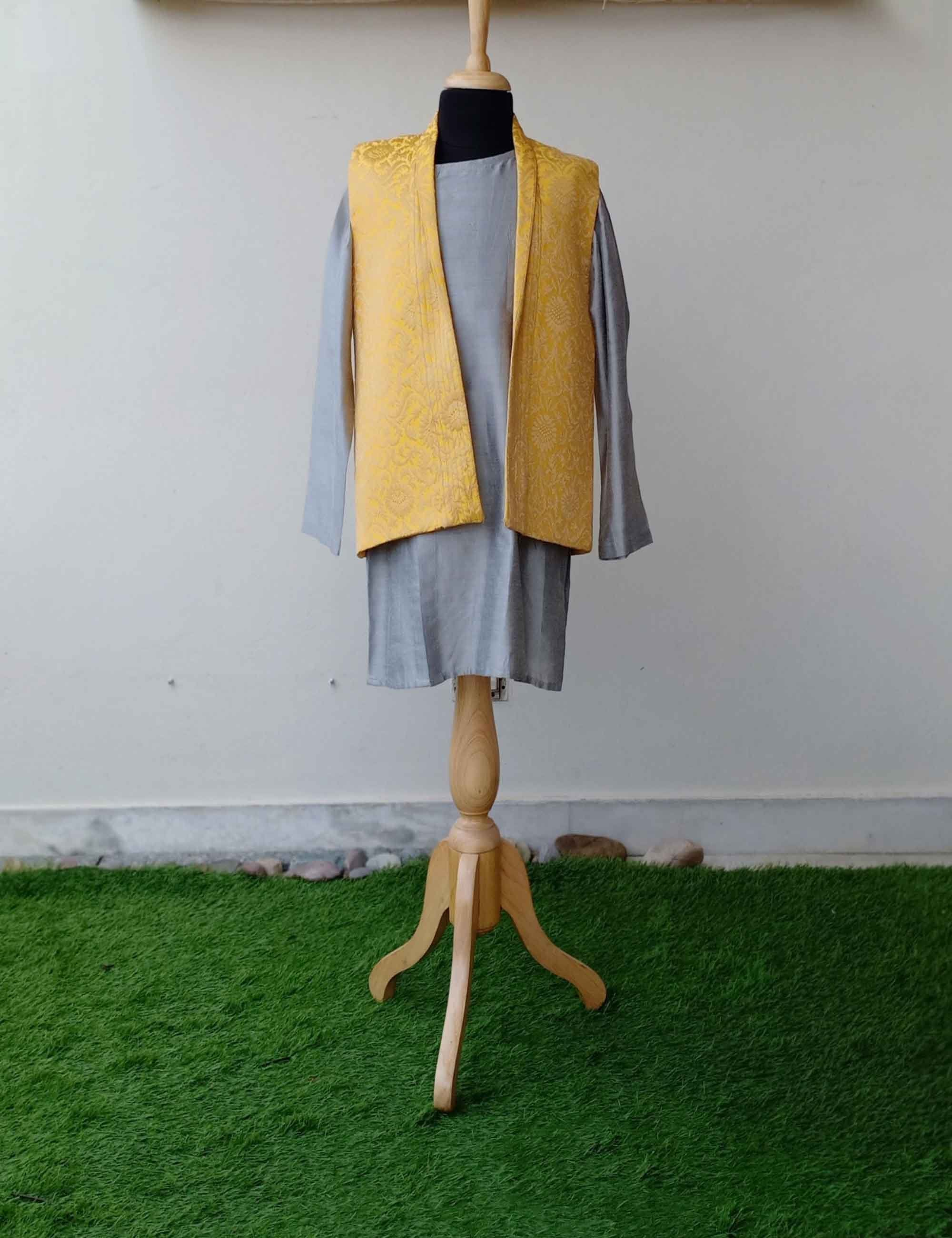 Grey Kurta Pyjama Set with Yellow Brocade Jacket