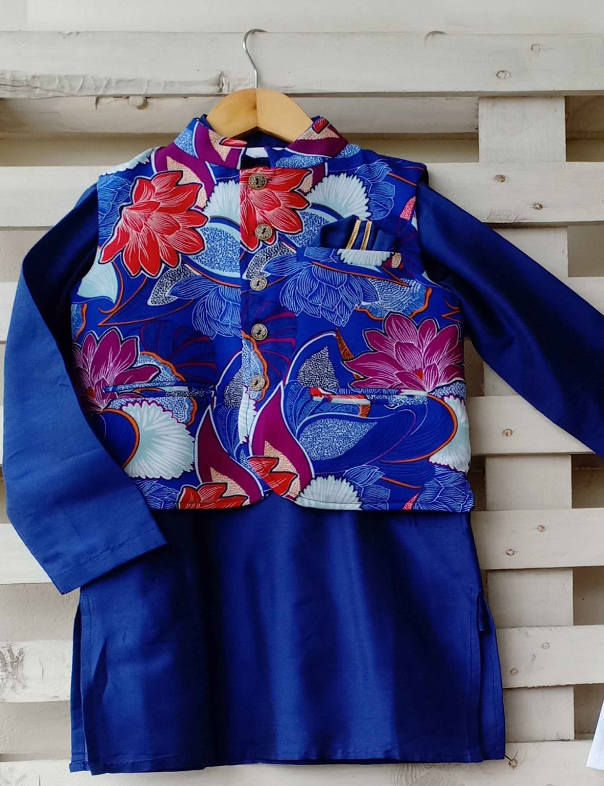 Floral Printed Jacket with Blue Kurta
