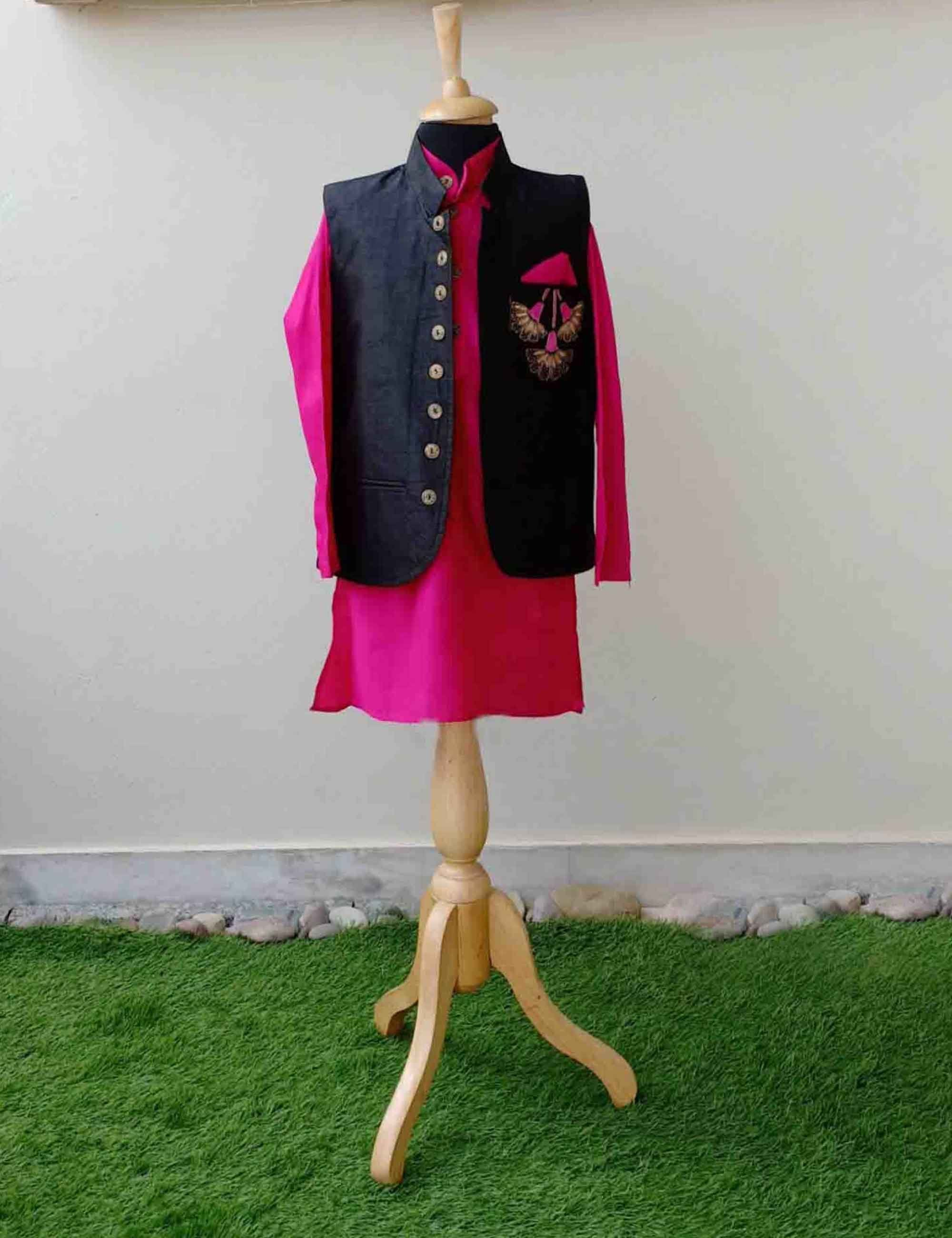Pink Kurta with Black Nehru Jacket