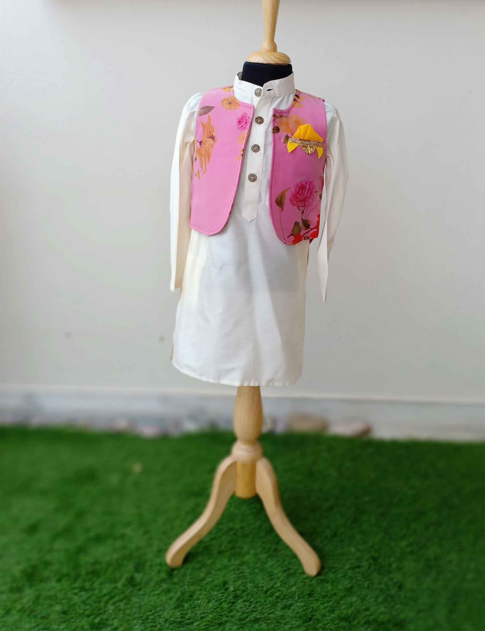 Organza floral Print Short jacket with off white kurta