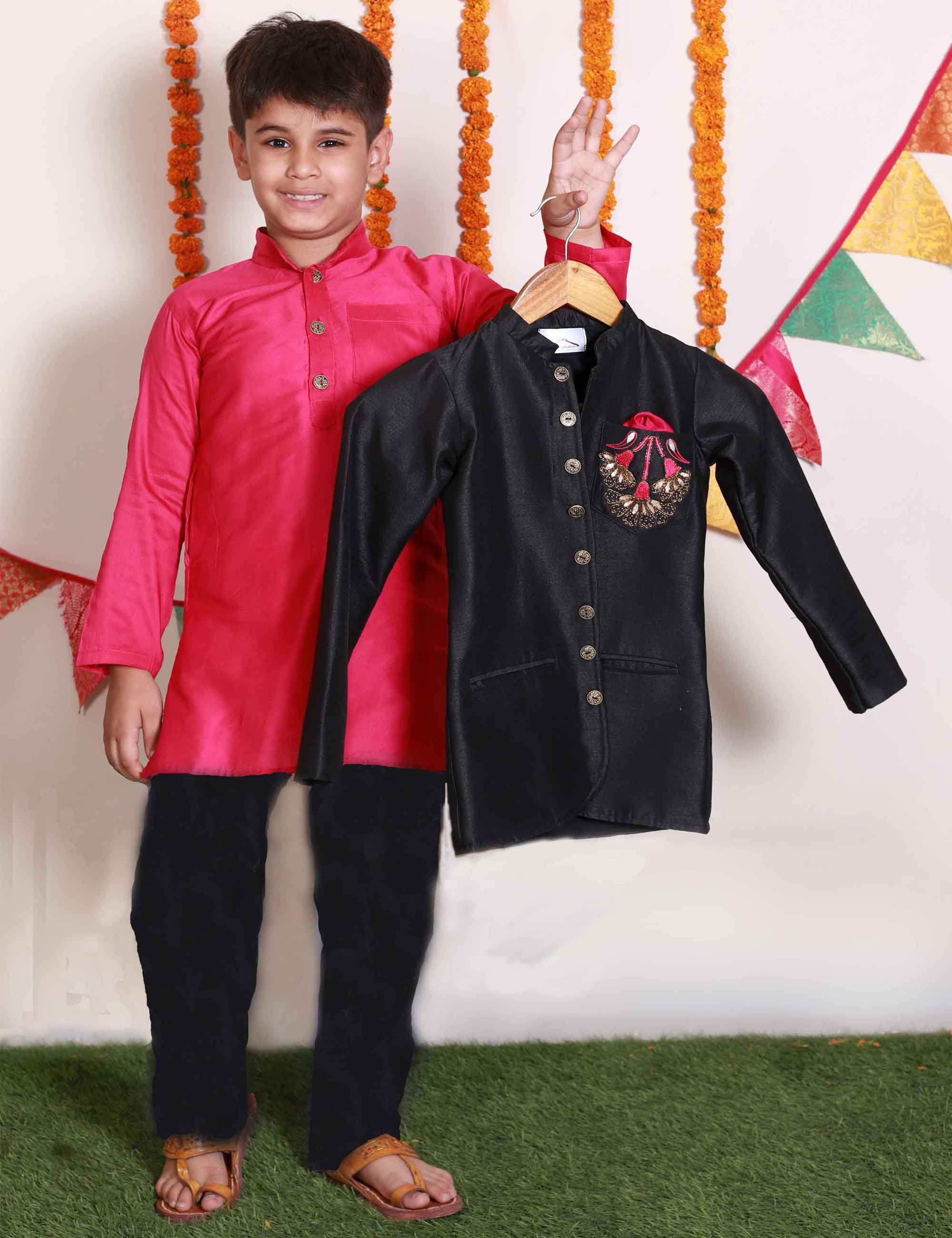 Rani Pink Kurta with Black Raw Silk Coat