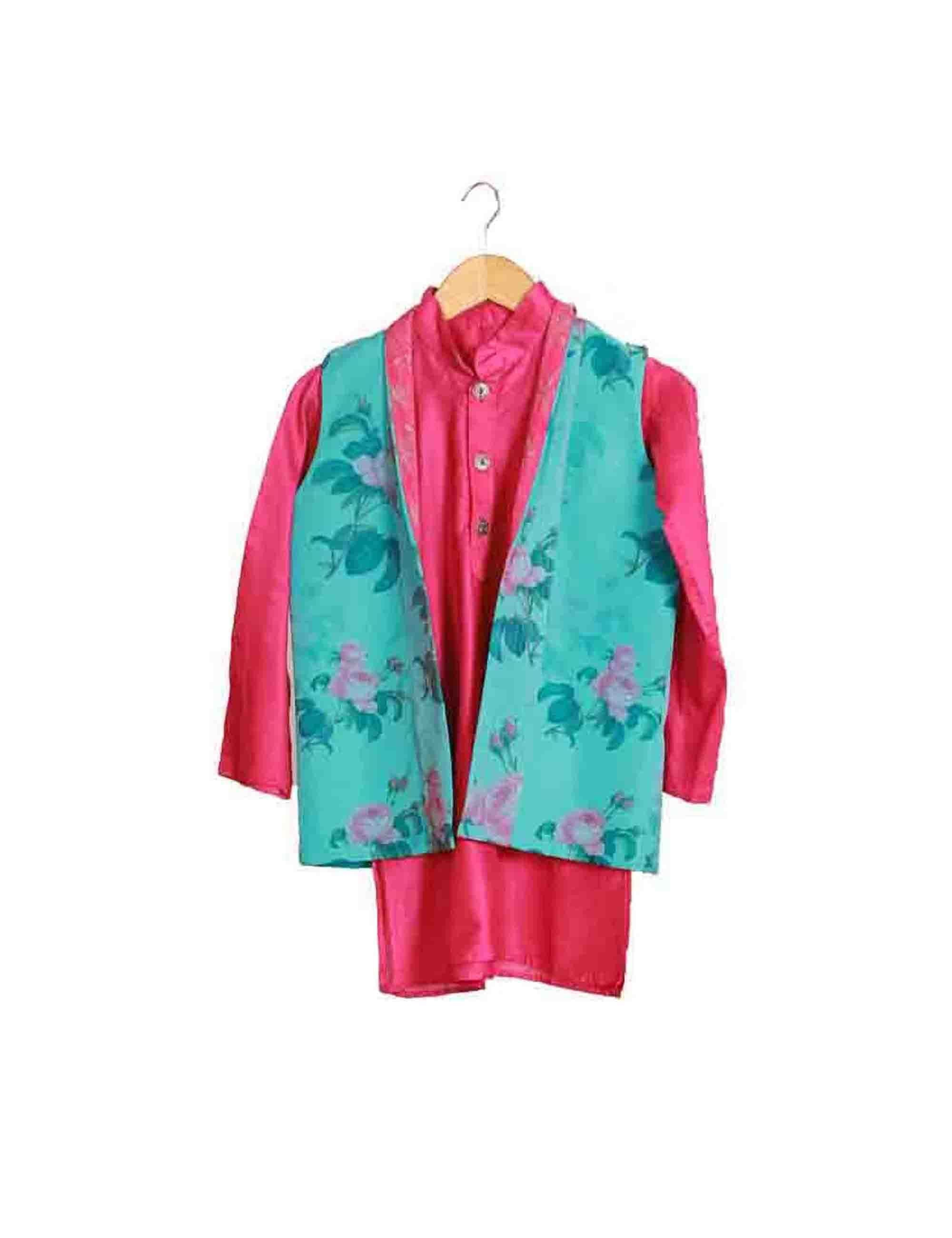 Blue Floral Print Organza Jacket with Pink Kurta