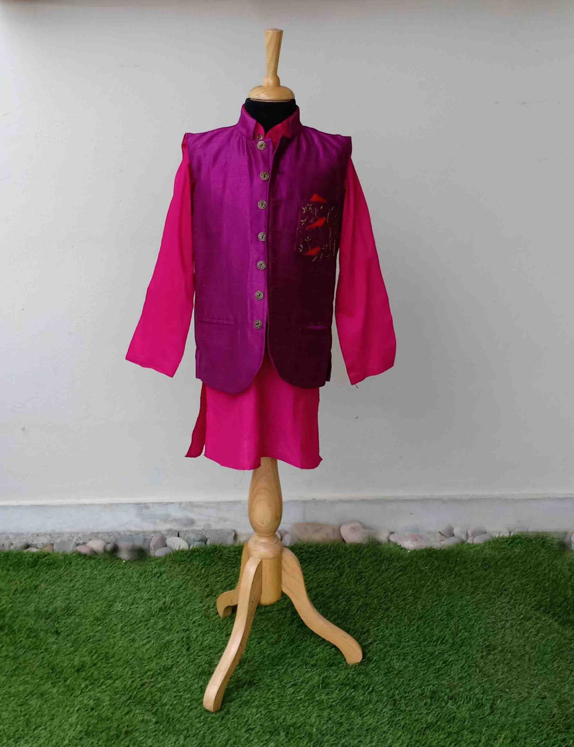 Purple Raw Silk Nehru Jacket