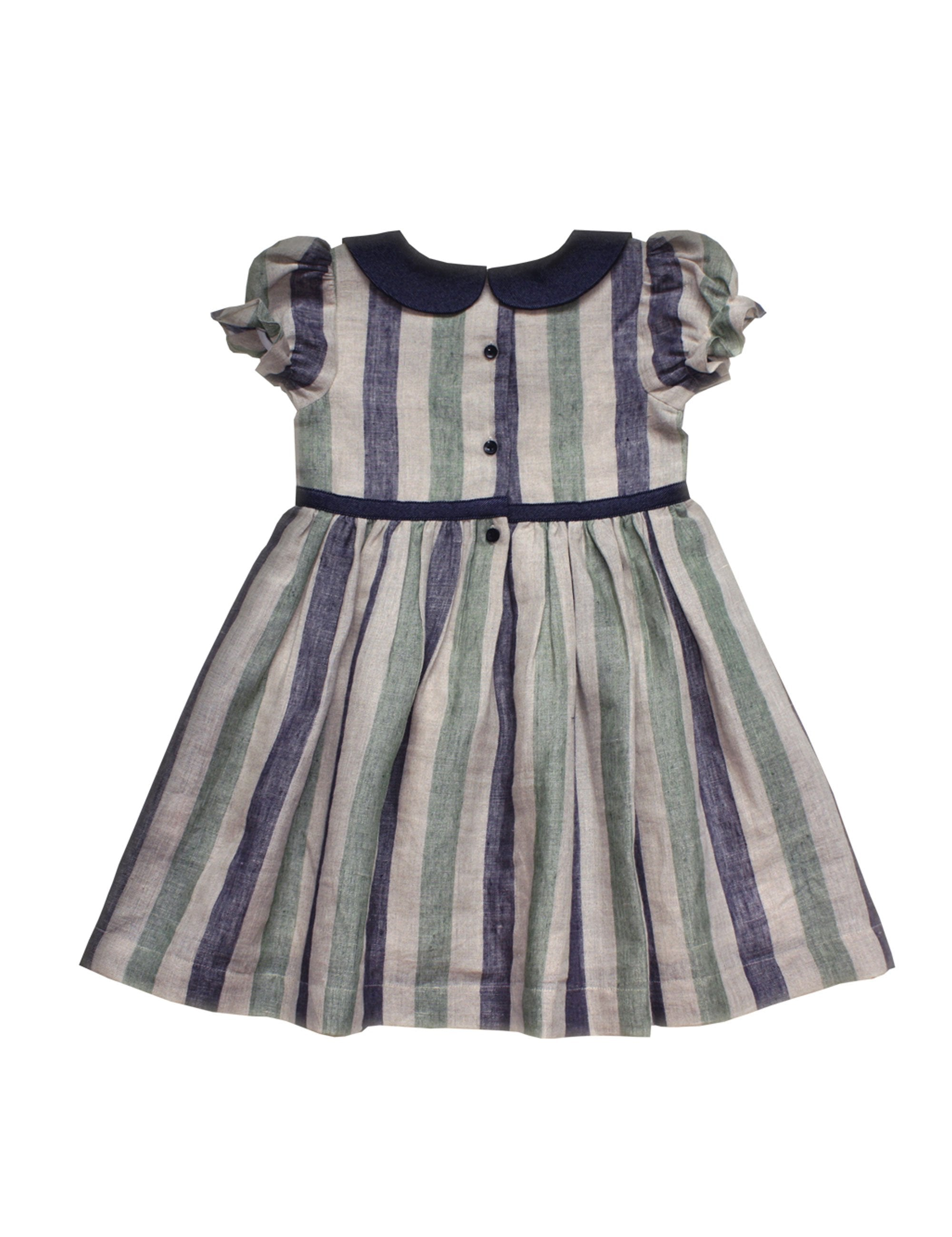 Cotton Stripe Dress in Blue Colour for Girls