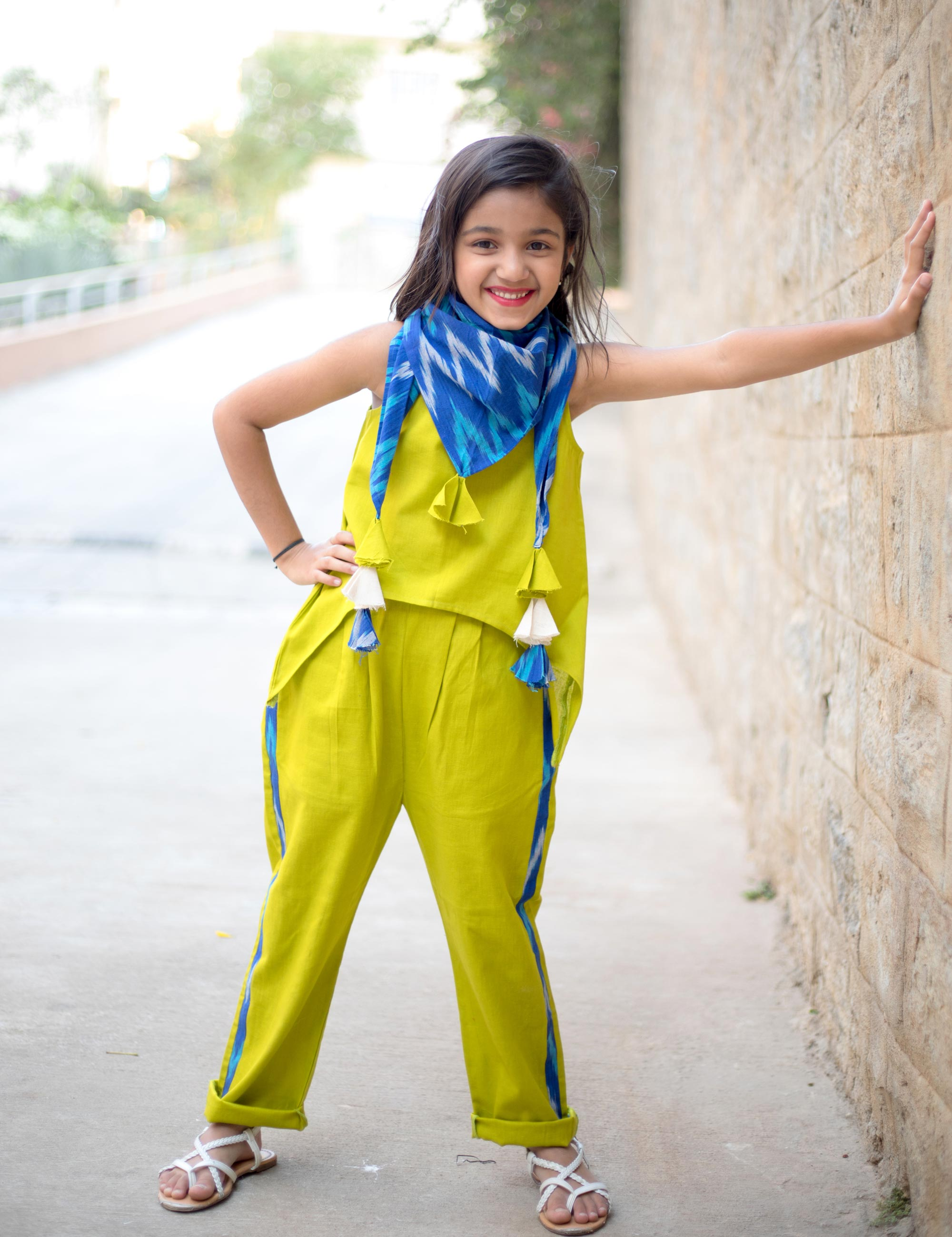Asymmetric Top Trouser Set with Ikat Scarf for Girls