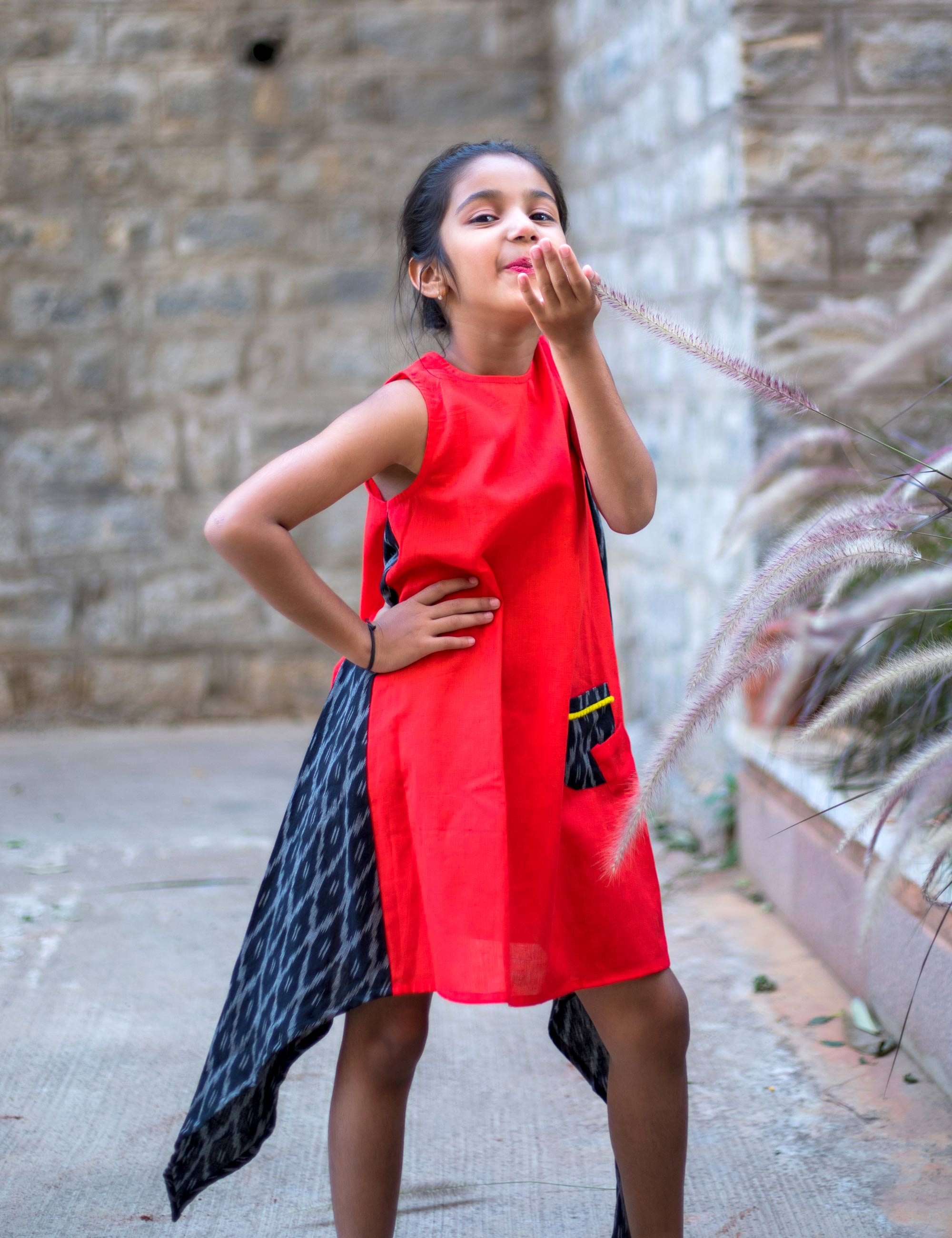 Asymmetric Ikat A-line Dress for Girls