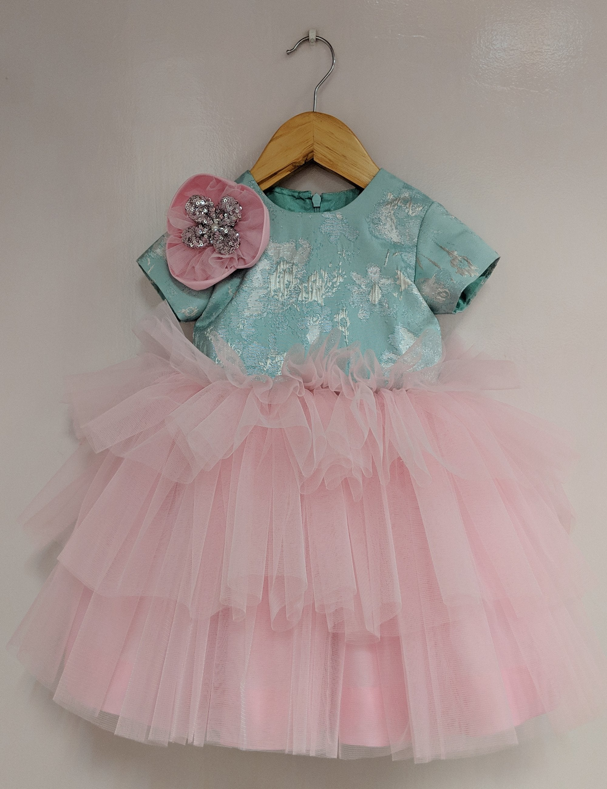 Pink ,Blue Frilly Dress